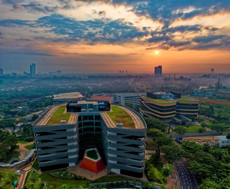 arkkitehtuuri, auringonlasku, aurinko