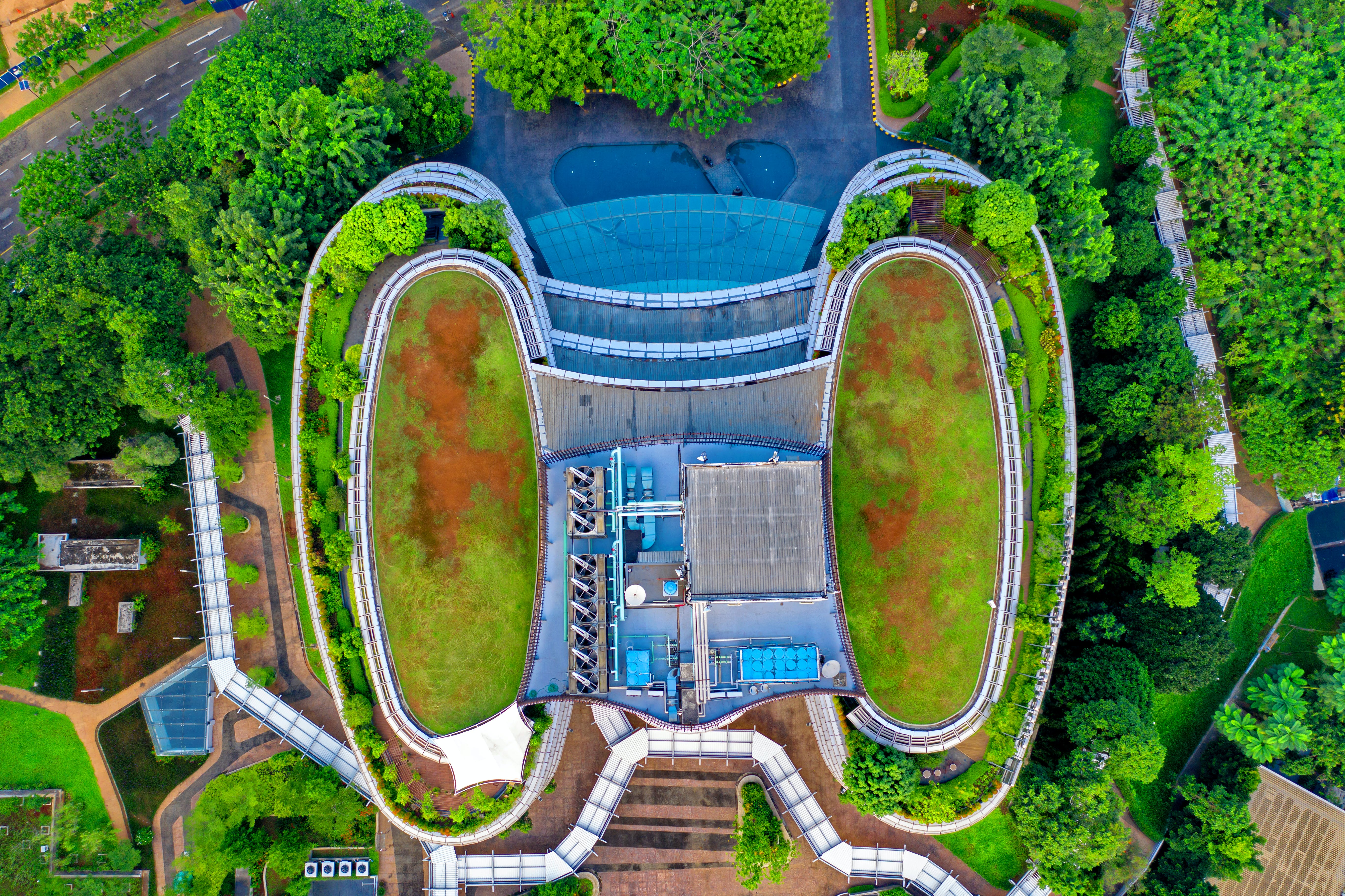 Aerial View of Blue Building