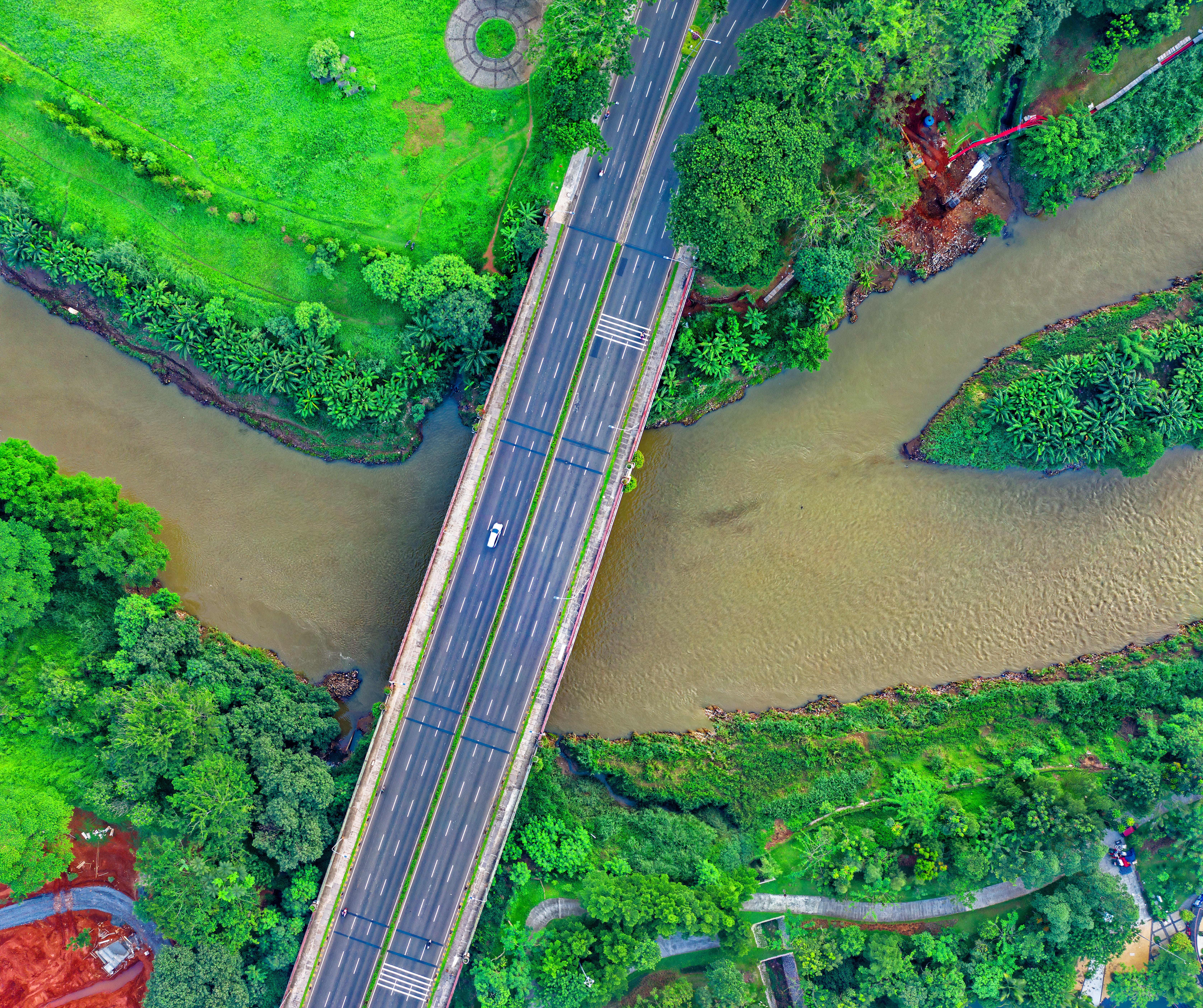 Aerial Photography of Bridge Above Water and Trees