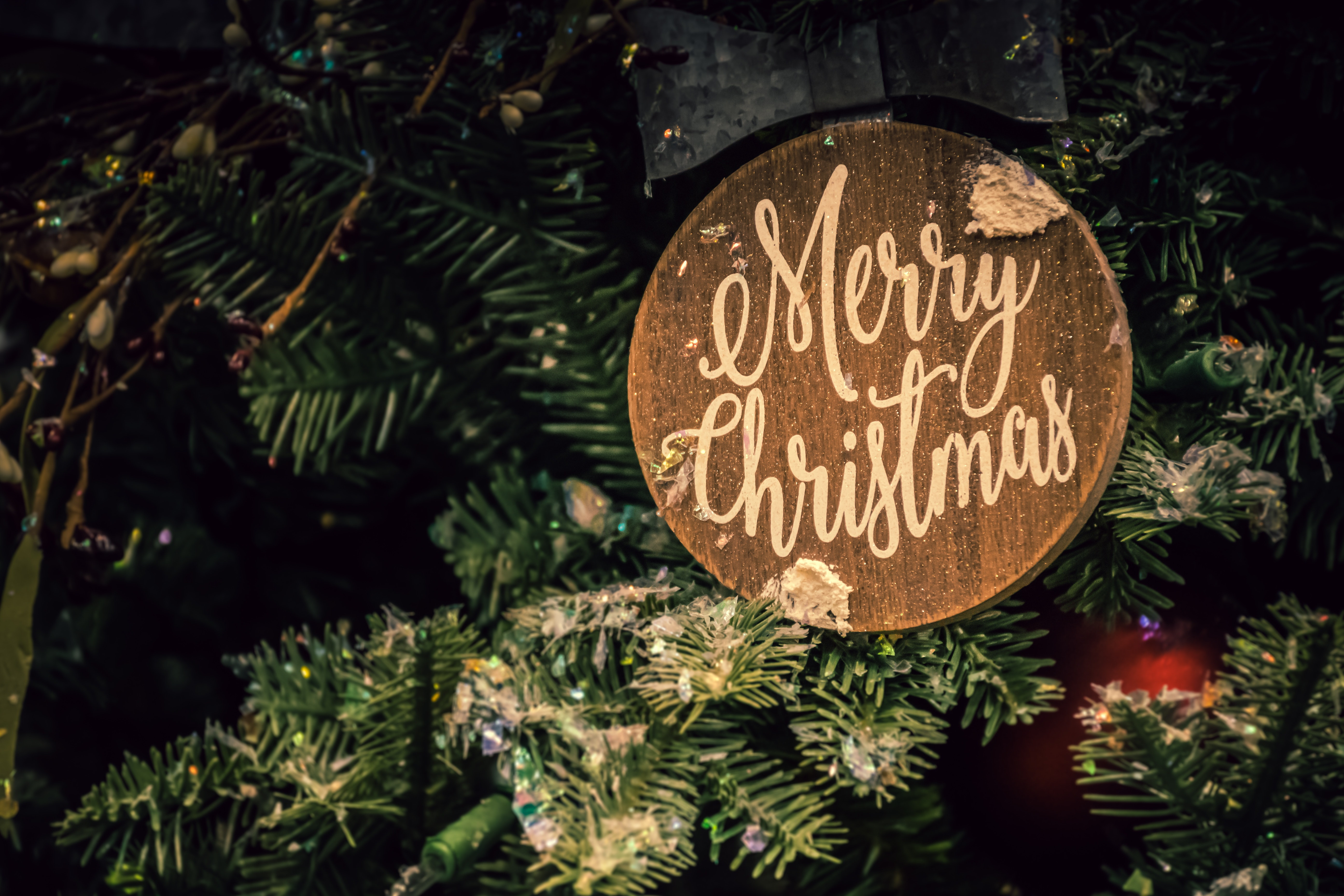 Merry Christmas Ornament Sign.Merry Christmas Sign Free Stock Photo