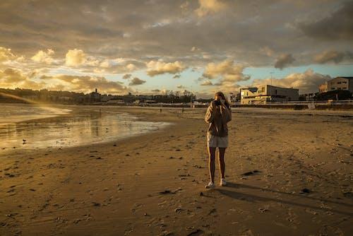 모래, 바다, 사람, 새벽의 무료 스톡 사진