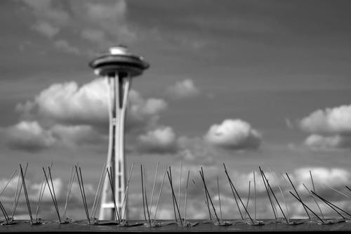 Free stock photo of bird spikes, clouds, seattle, seattle space needle