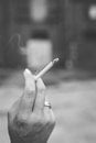 black-and-white, hand, cigar