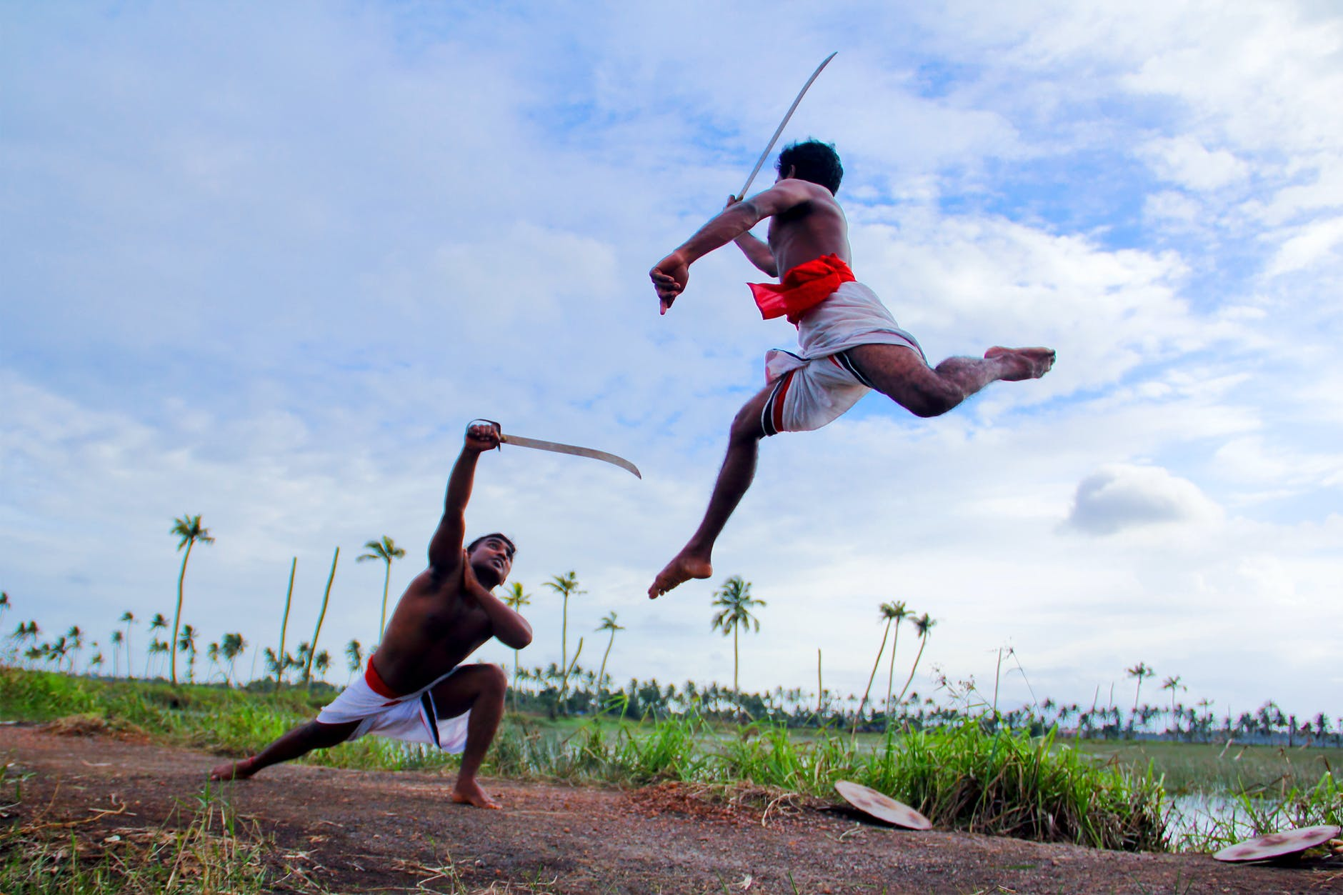 Kalaripayattu performed in a greenery area