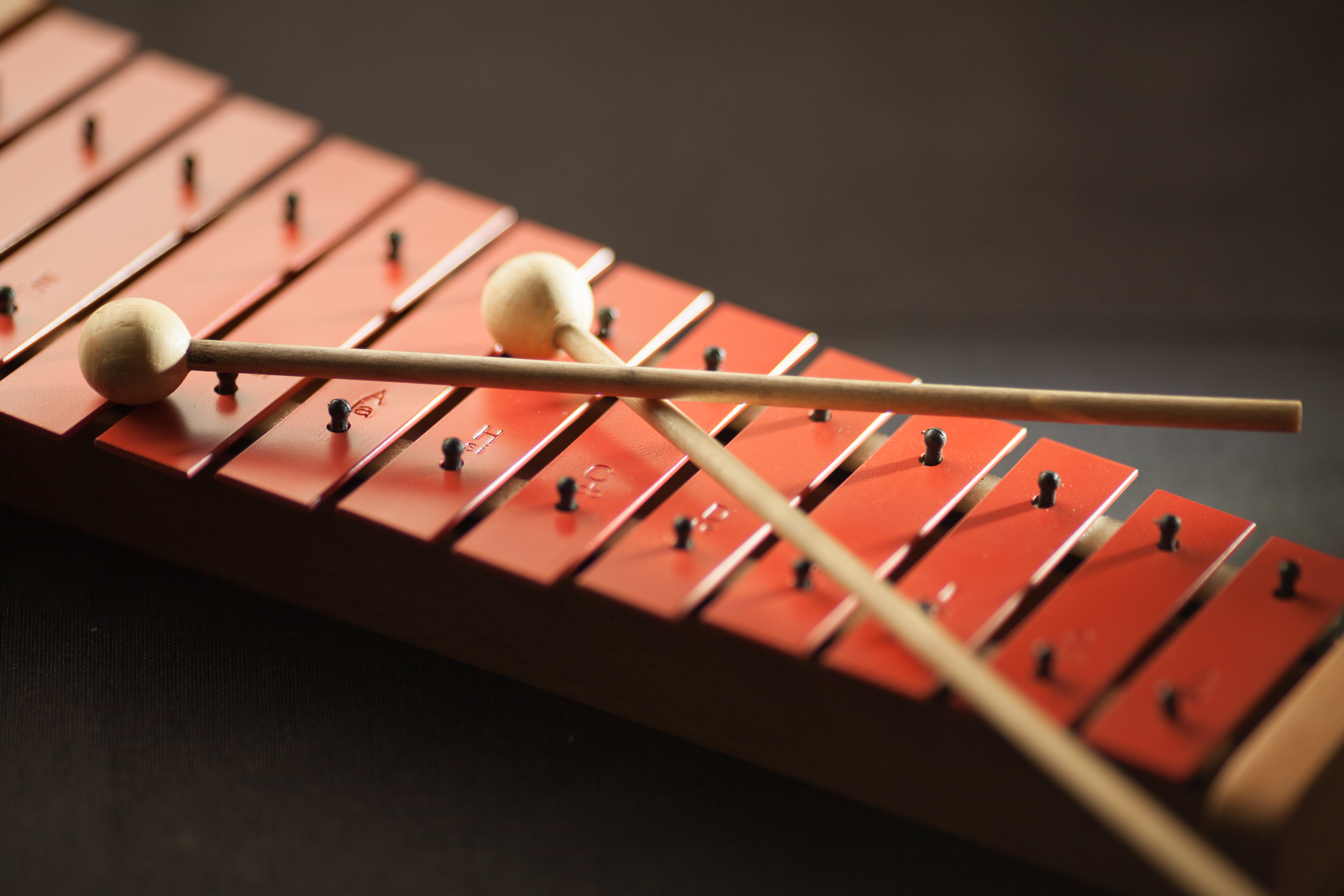 Shallow Focus Photography of Red Xylophone