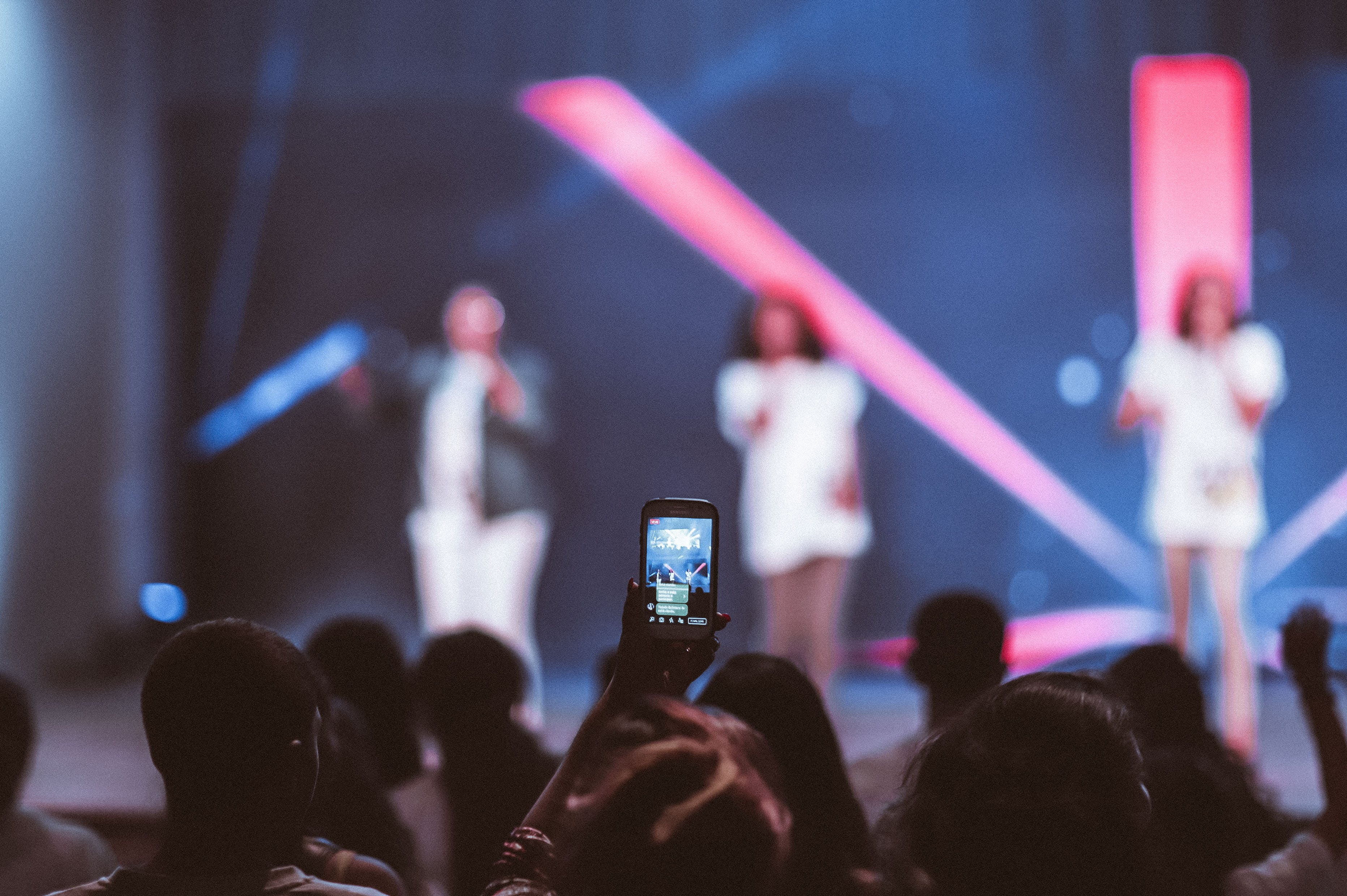 Shallow Focus of Smartphone Videoing Concert
