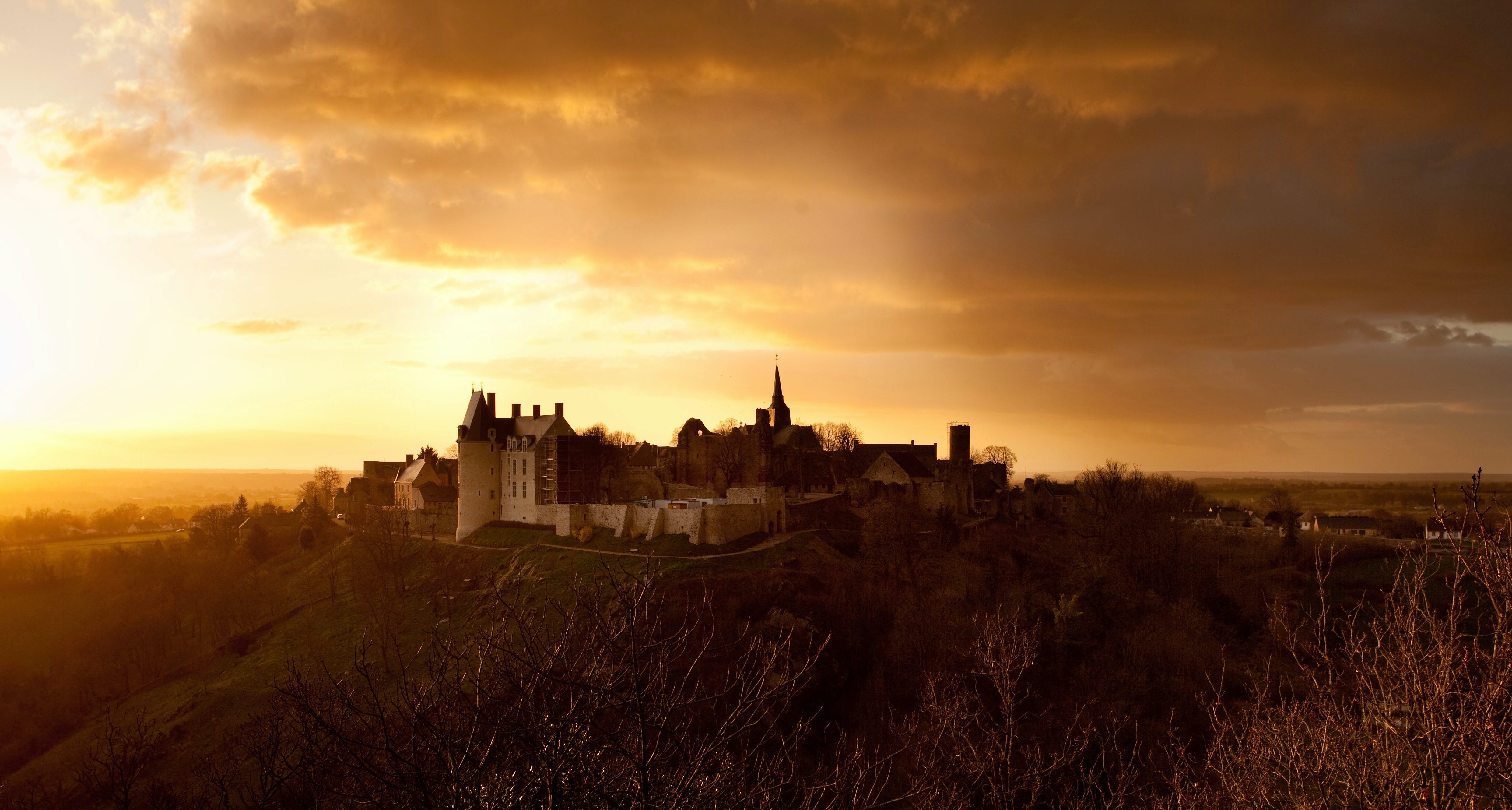 Castle on Top of Hill at Sunset