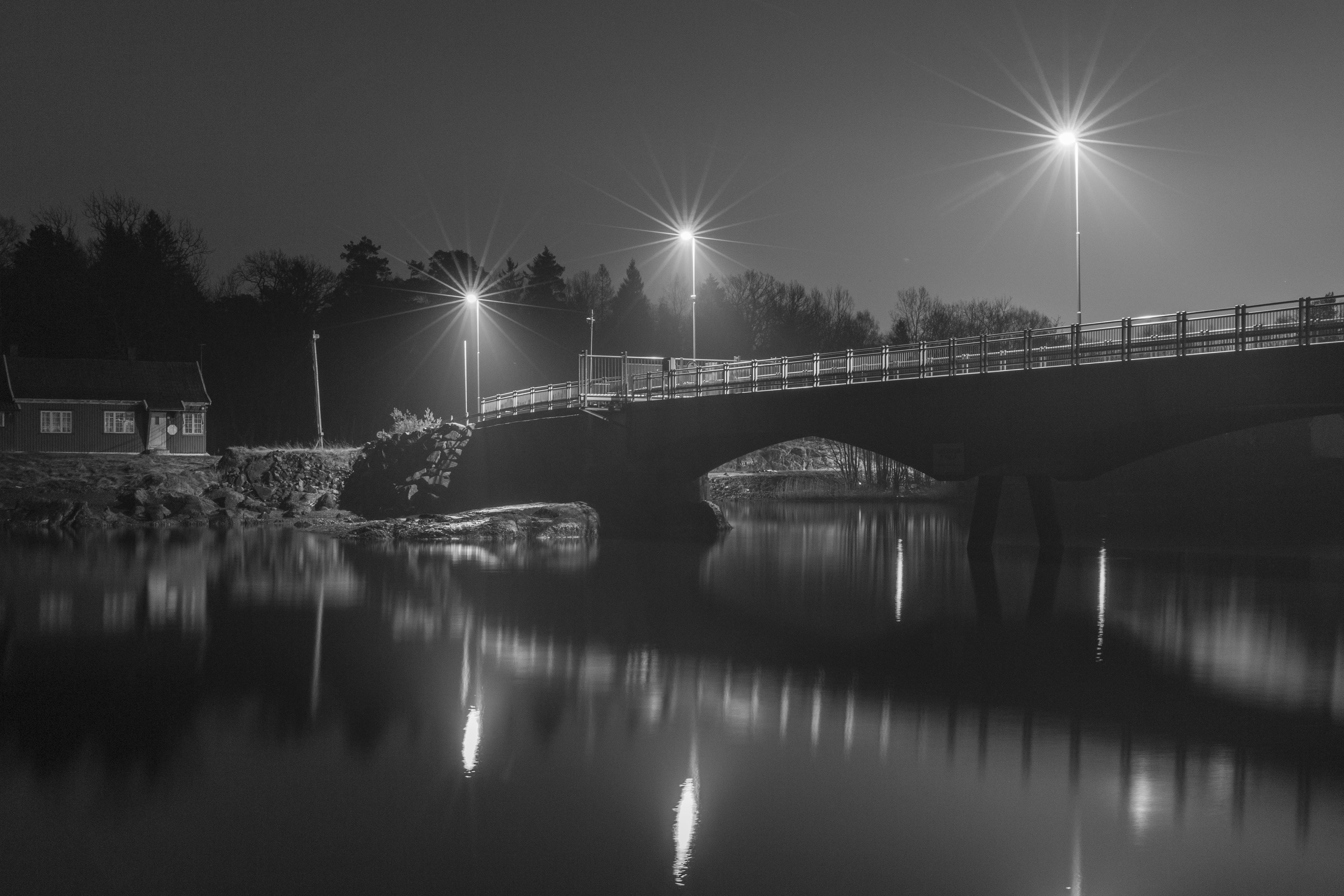 Grayscale Photo of Bridge at Night