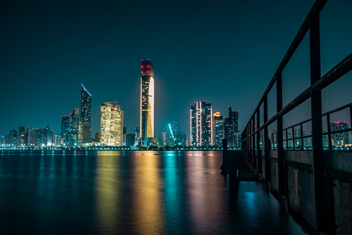 Foto Des Stadtbildes Bei Nacht