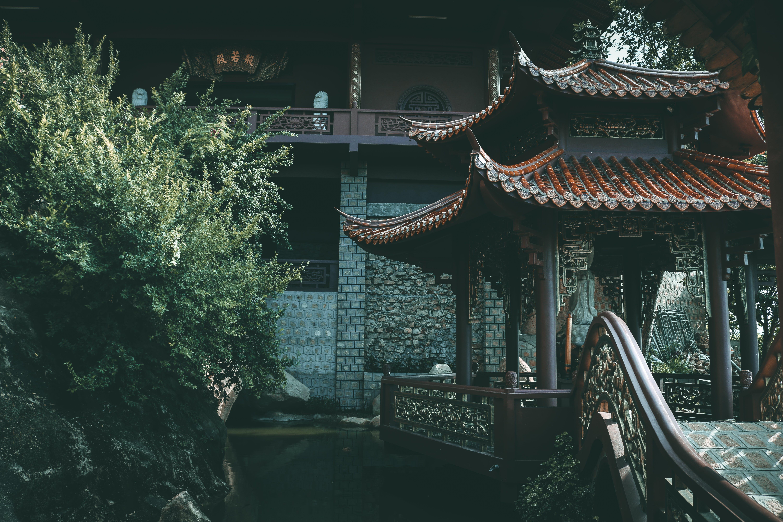 Asian Style Gazebo Near Plants