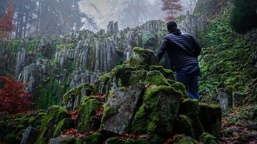 Δωρεάν στοκ φωτογραφιών με άνδρας, βουνό, βράχια, βράχια σκεπασμένα με βρύα