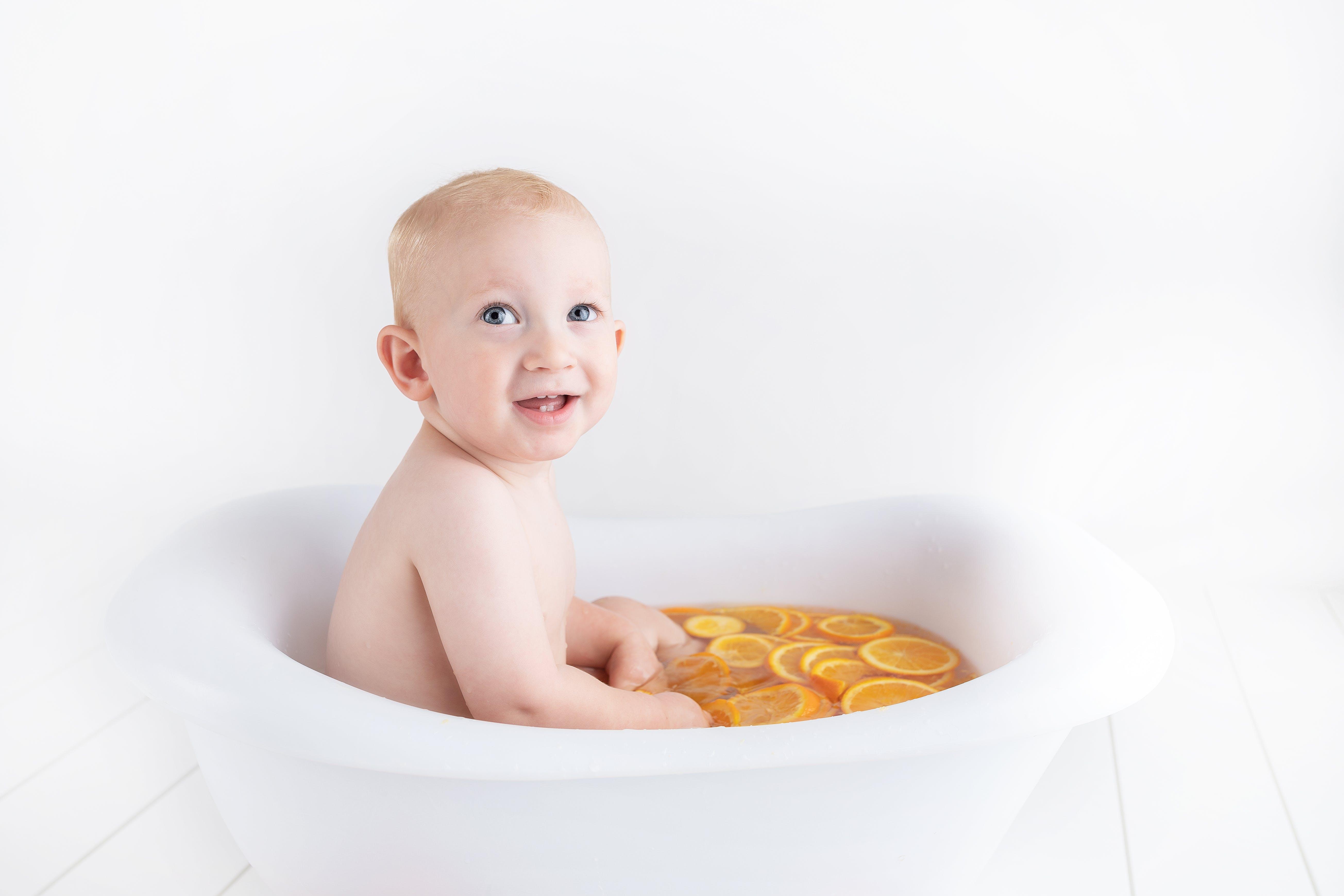Free stock photo of baby, bath, oranges