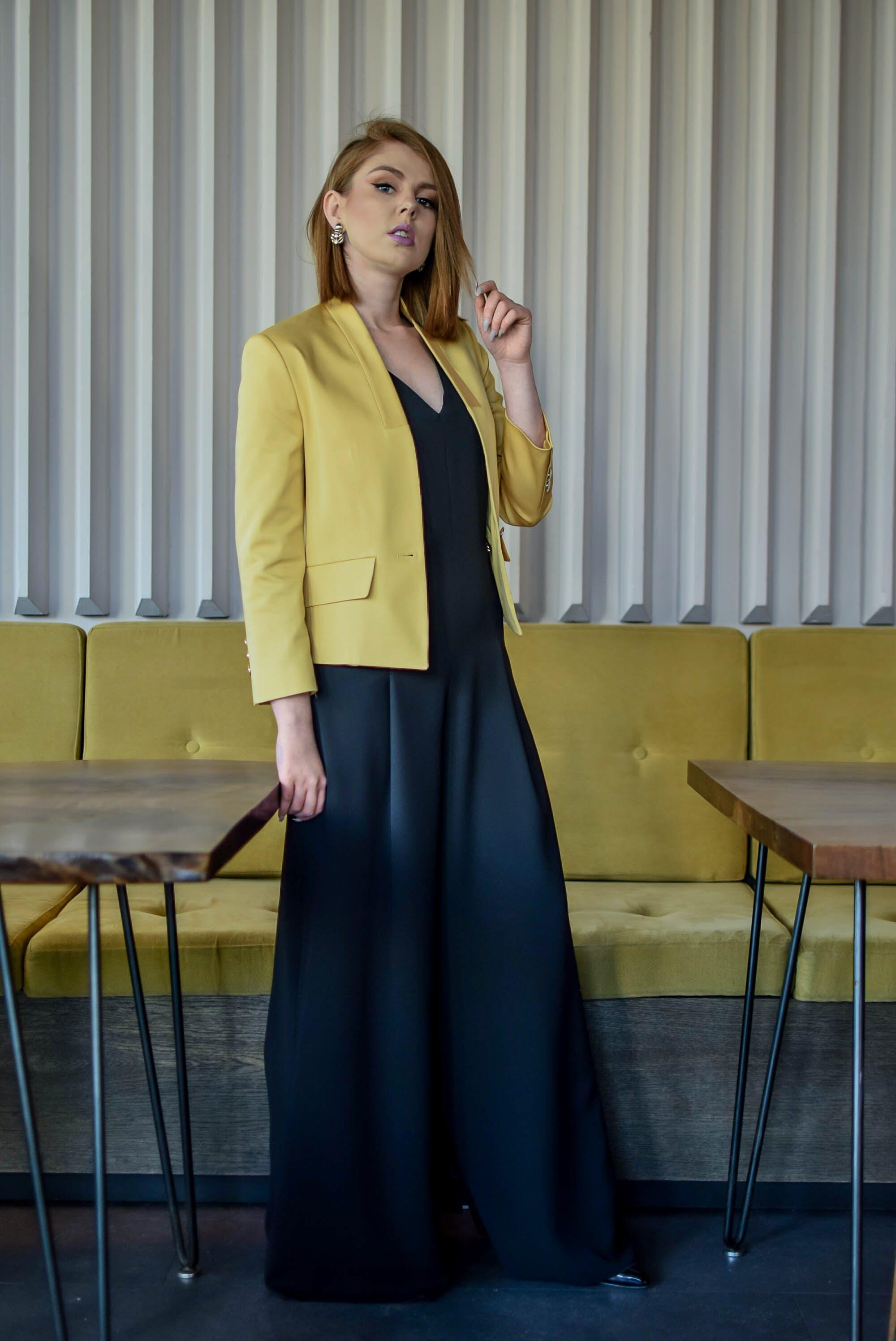 Photo of Woman Wearing Yellow Blazer
