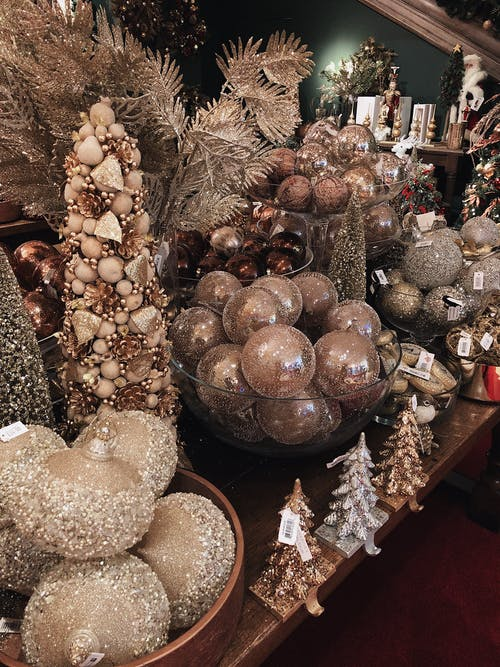 Photo of Golden Christmas Ornaments