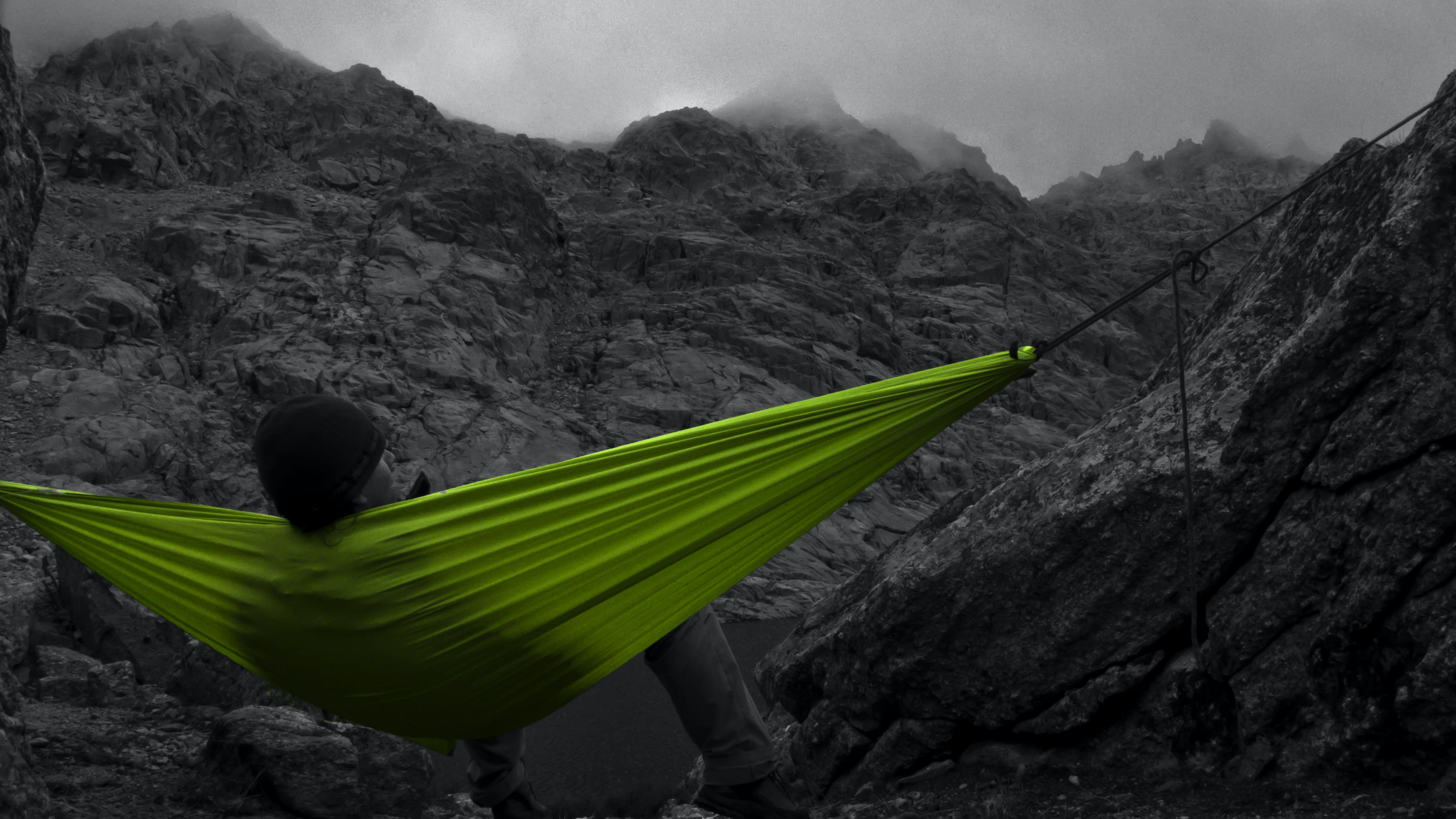 Selective Color of Green Canvas Hammock