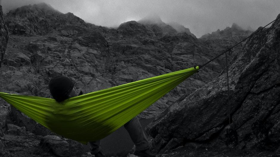 berg, draußen, entspannung