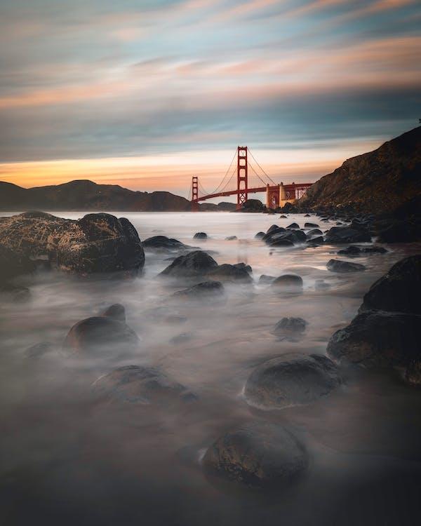 bro, Golden Gate-bron, gryning
