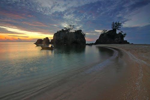 คลังภาพถ่ายฟรี ของ ขอบฟ้า, ชายทะเล, ชายหาด, ต้นไม้