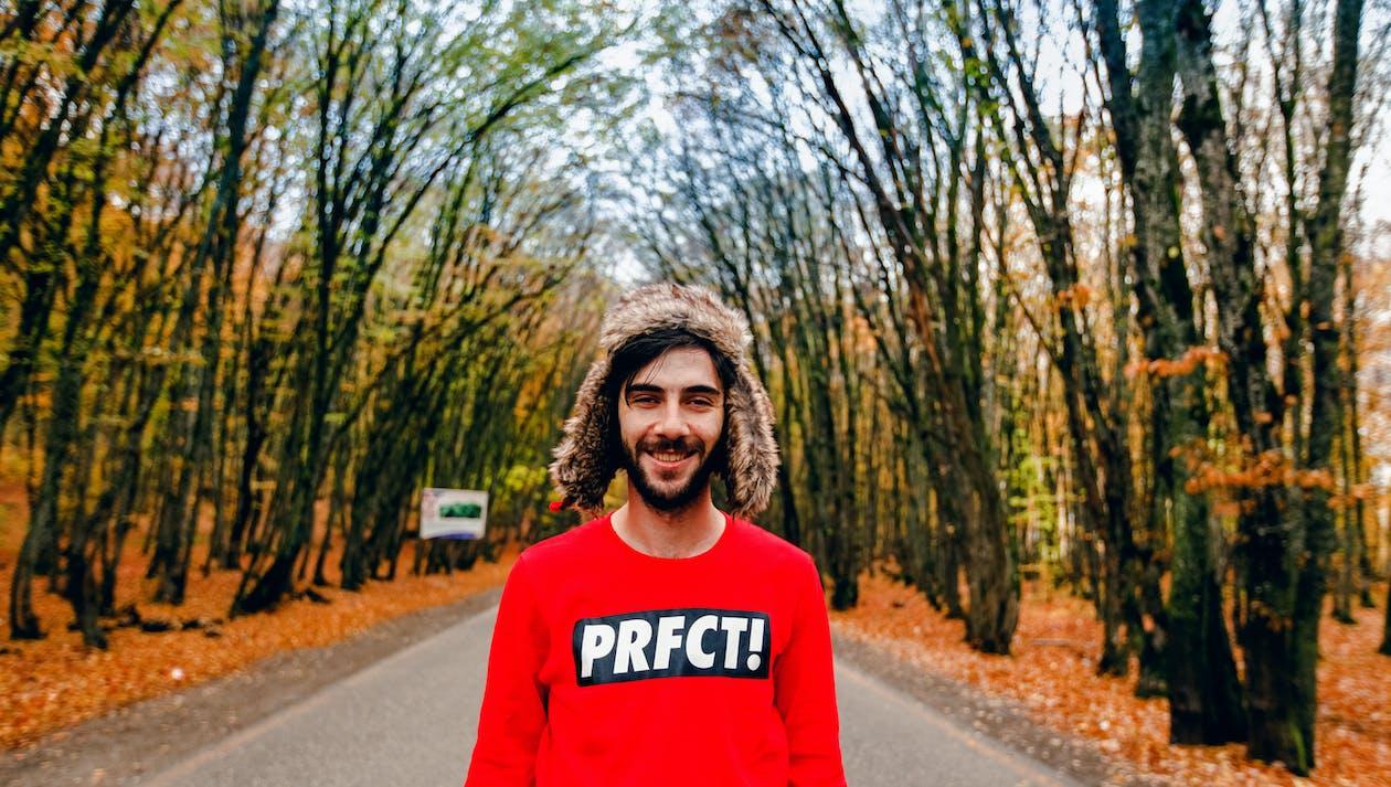 Man Wearing Red Crew-neck Sweater