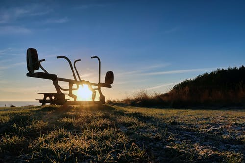 Free stock photo of abdominal exercise, blue, clouds, exercise equipment