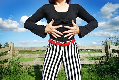 Free stock photo of black and white stripes, black top, body, fashion