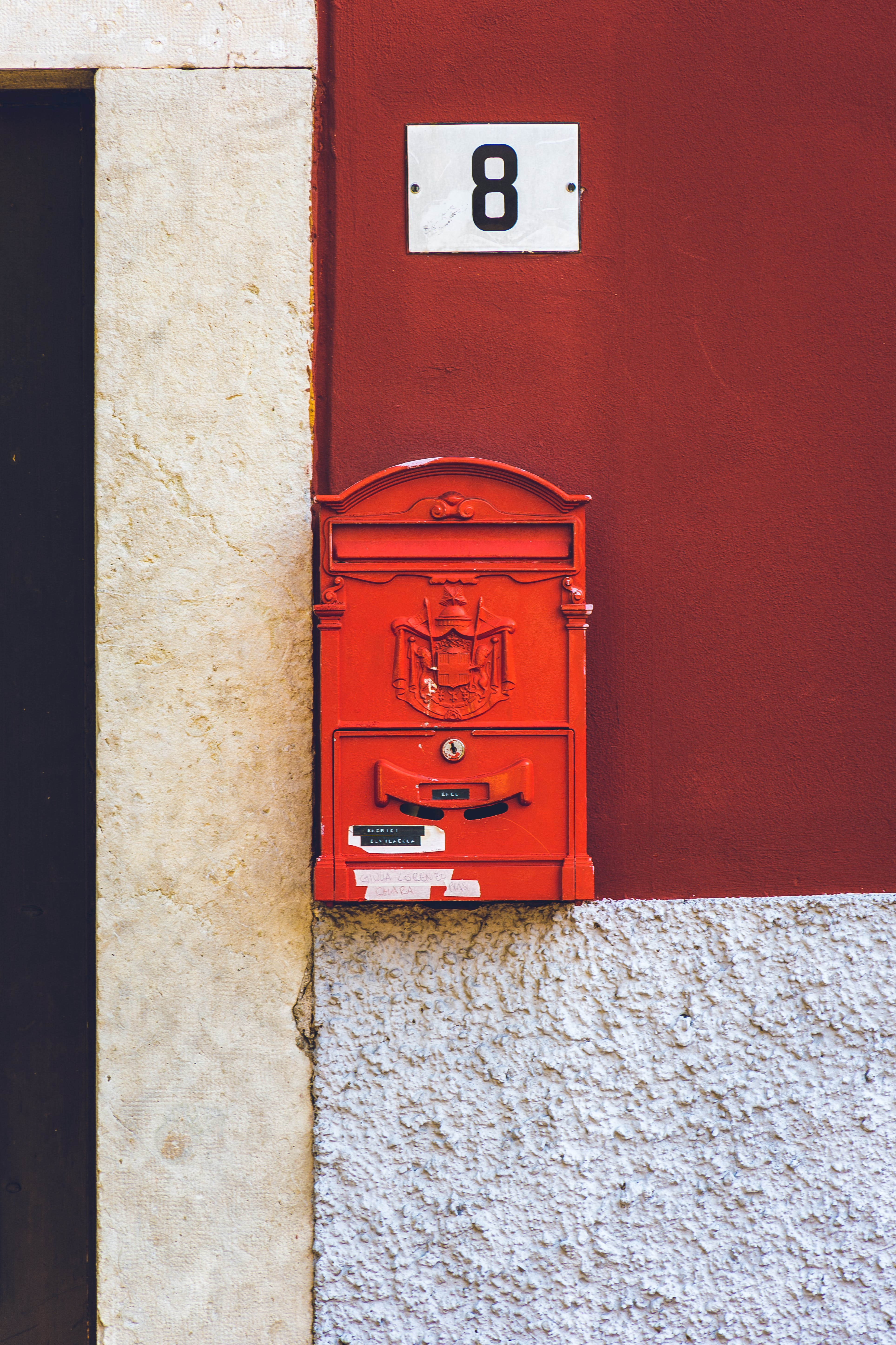 Photo of Red Mailbox Mounted on Wall