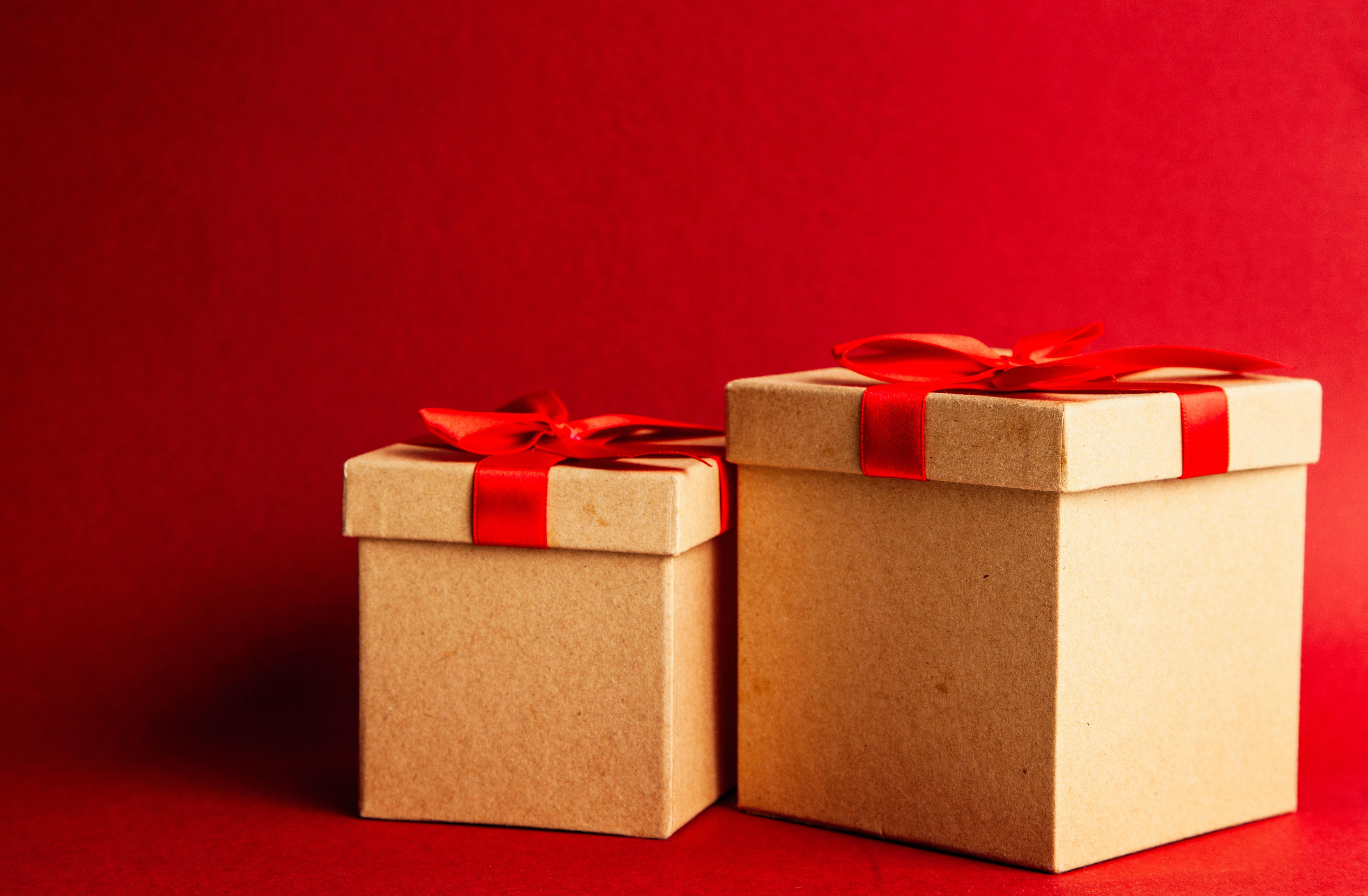 Two Brown-and-red Gift Boxes on Red Surface & 250+ Engaging Gift Box Photos · Pexels · Free Stock Photos