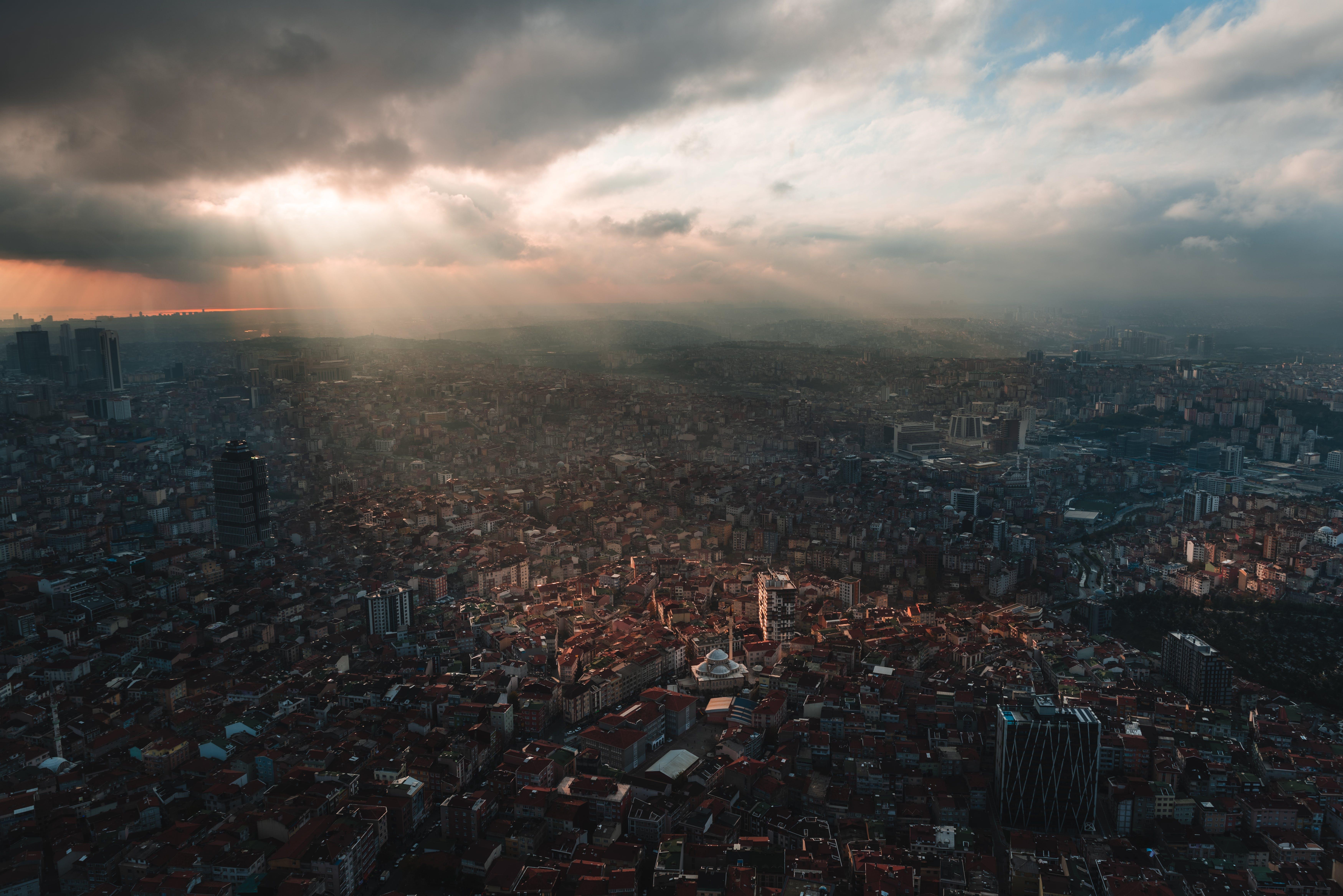 Kostenloses Stock Foto zu dämmerung, istanbul, luftaufnahmen, luftschuß