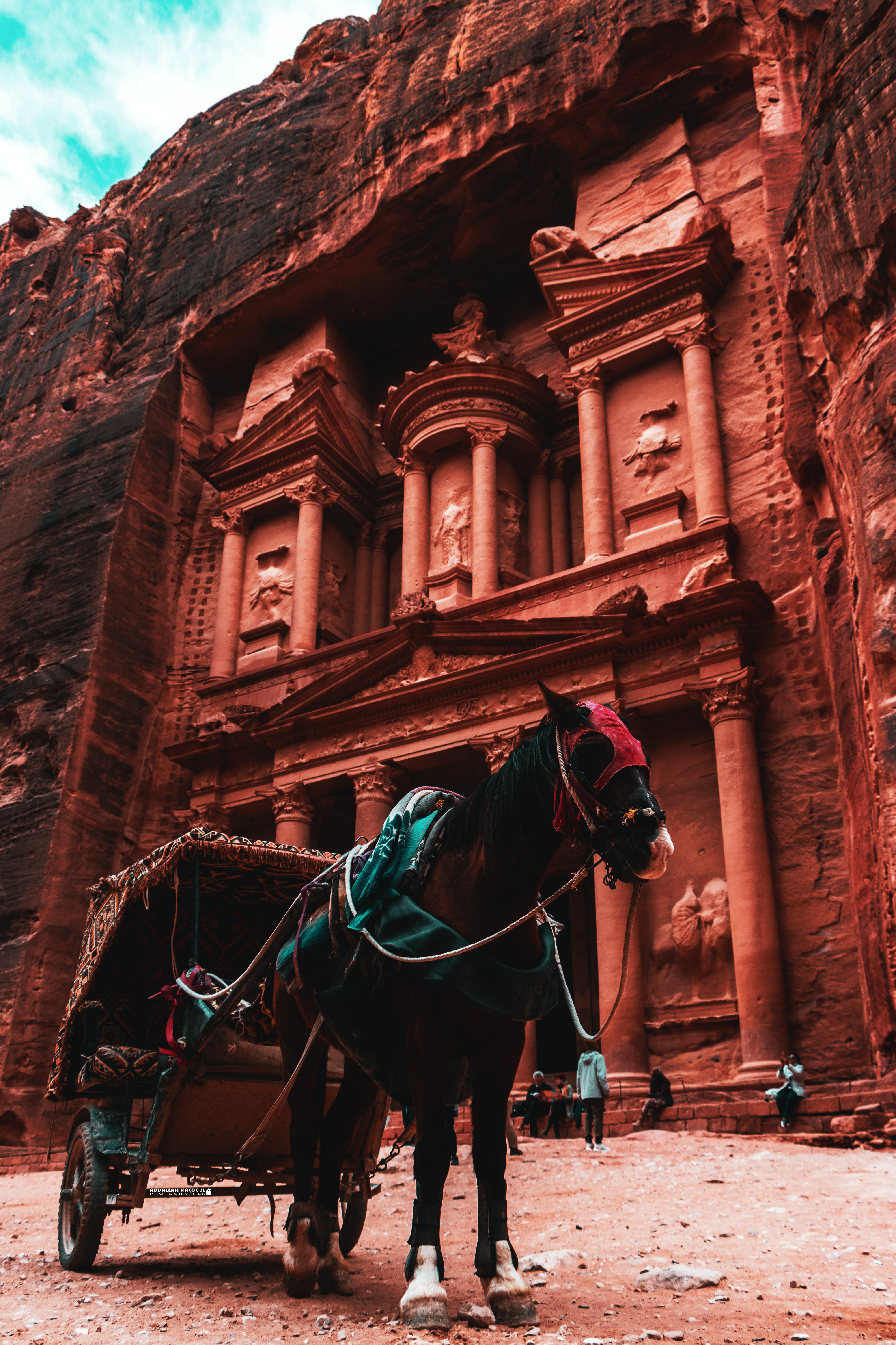 Black and Brown Horse Carriage Parked Beside Brown Temple