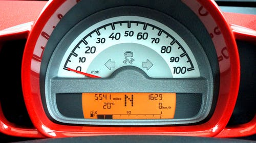 Red and Black Car Speedometer at Neutral