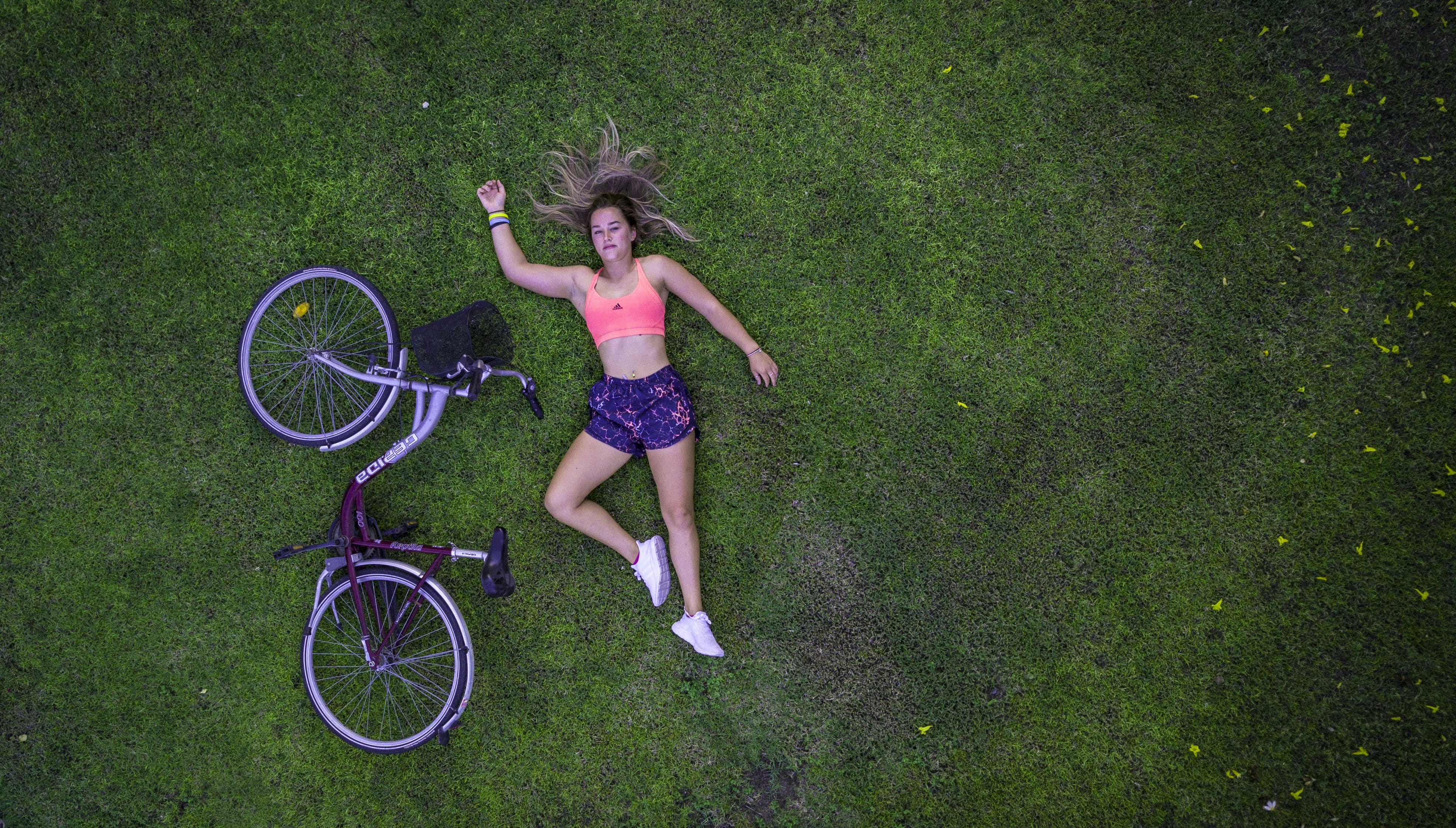 Top View Photo of Woman Lying On Grass