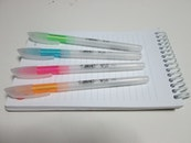 notebook, pens, paper