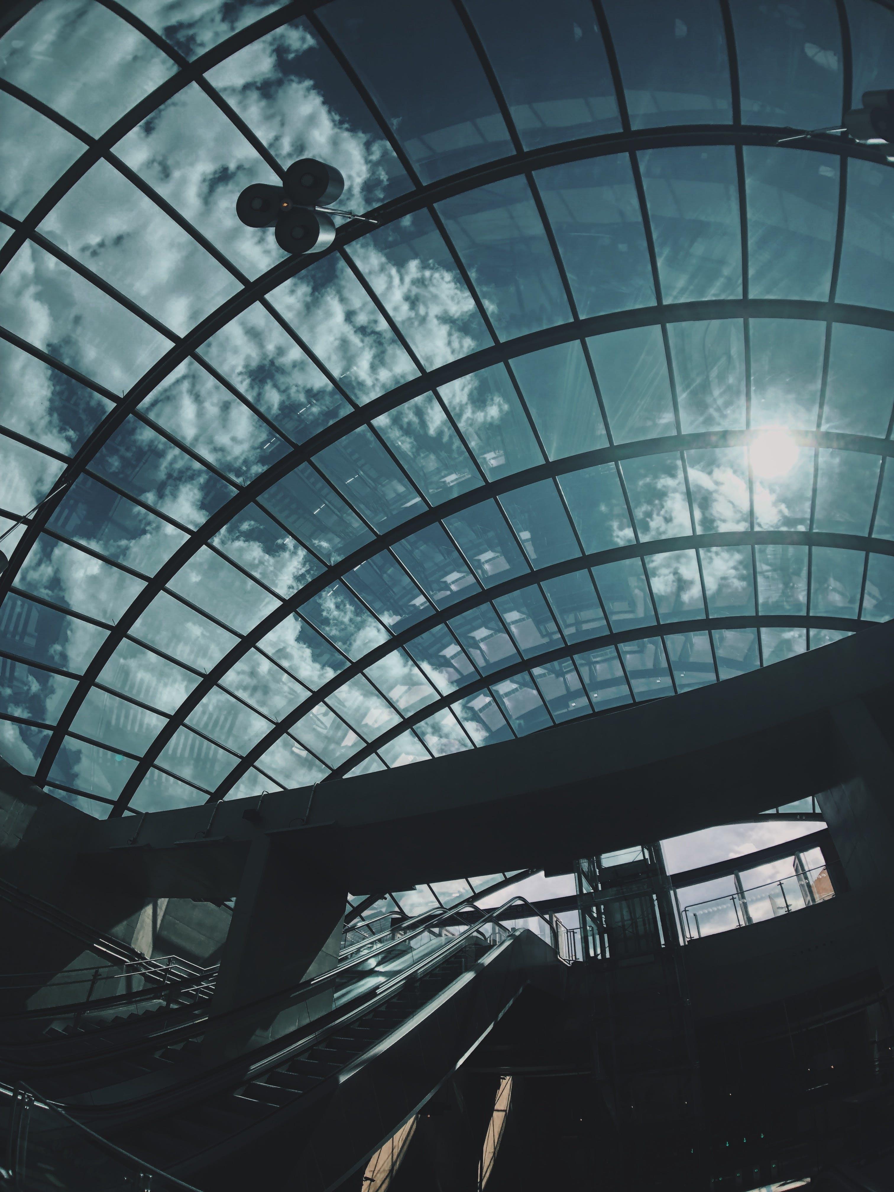 Clear Glass Skylight Under Gray Skies