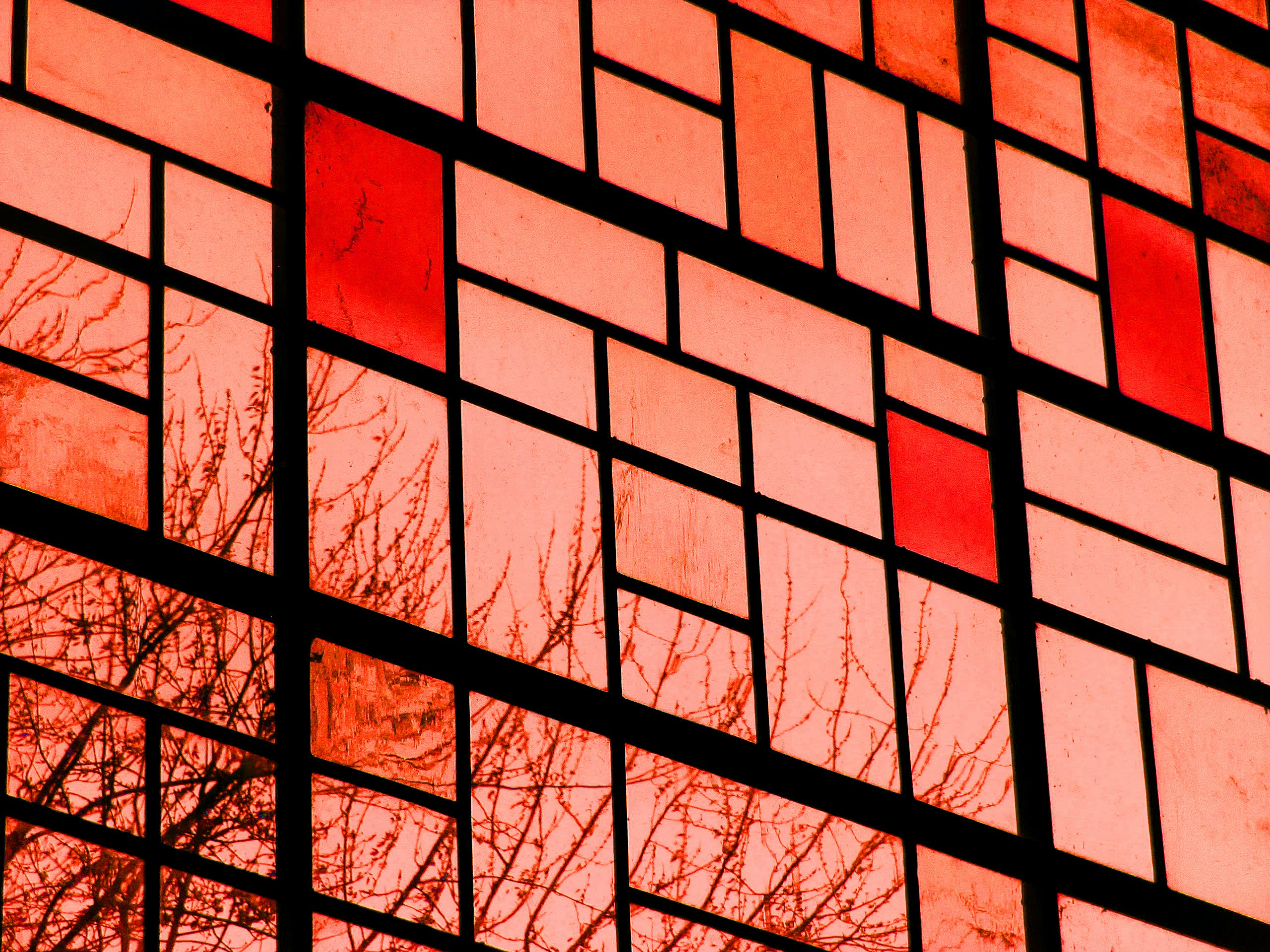Red Orange Glass Window
