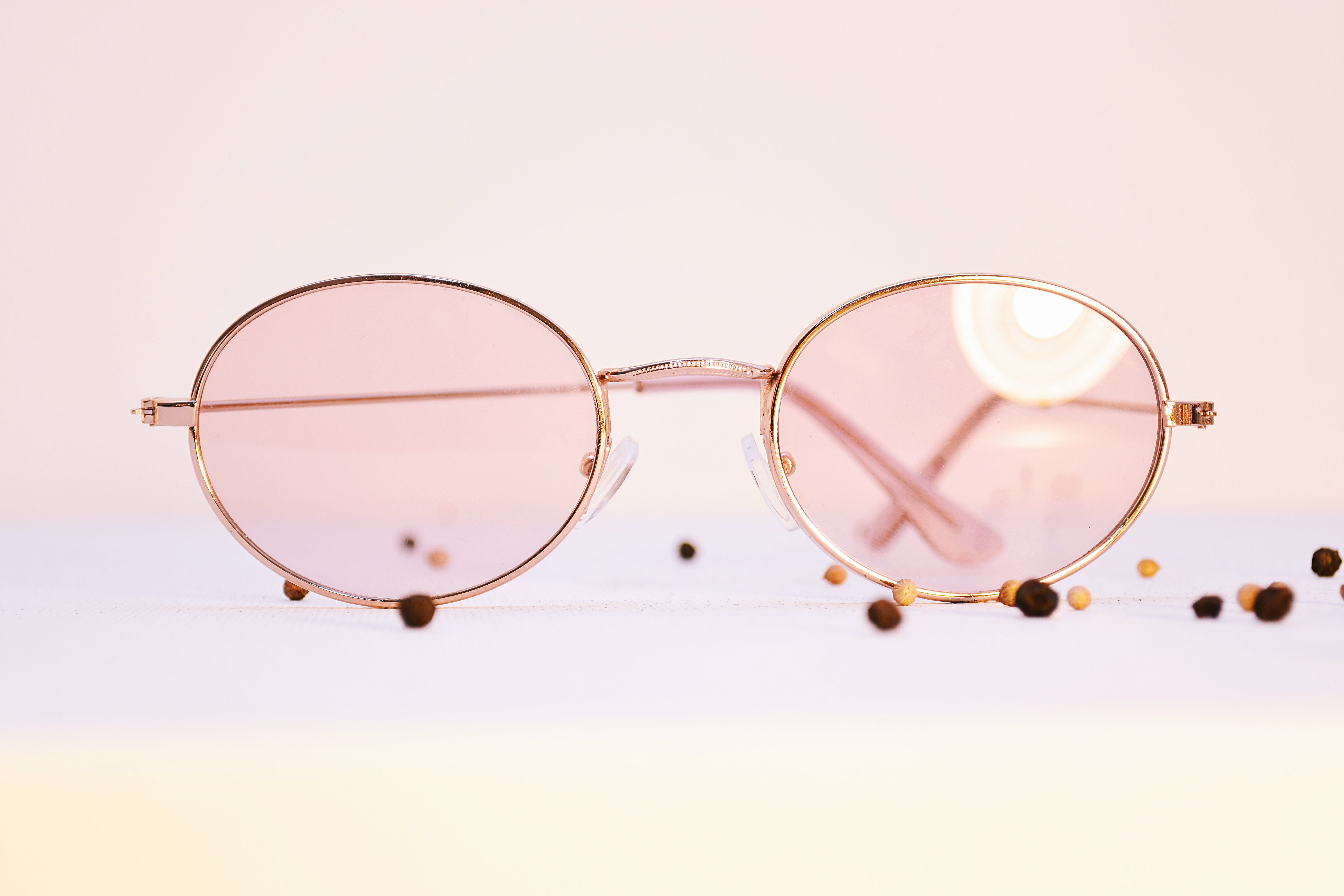 Pink Sunglasses With Gold Frames
