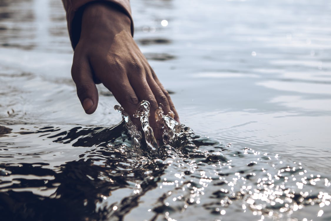 Close-Up Photo of a Person's Hand Touching Body of Water