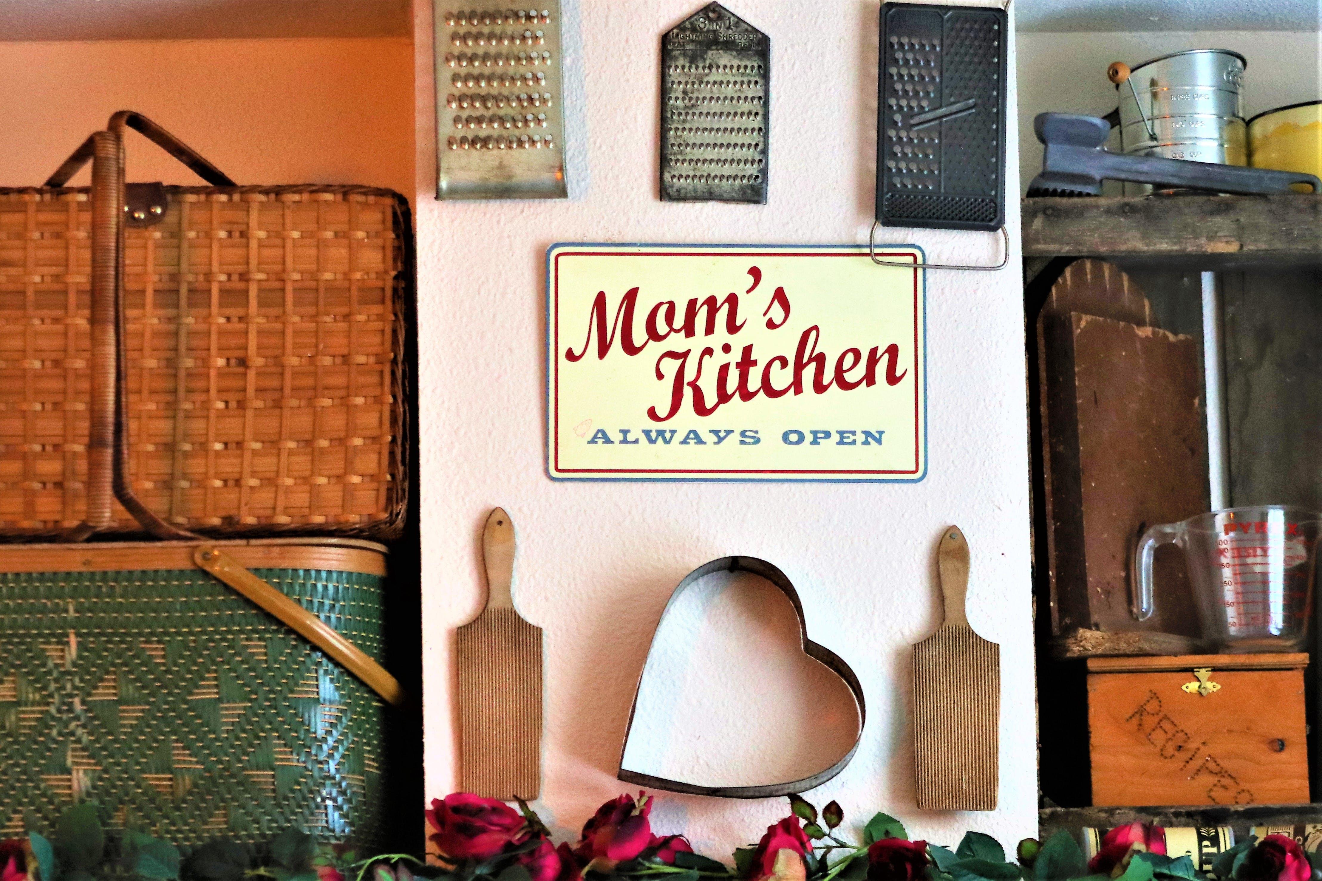 Mom's Kitchen Always Open Signboard