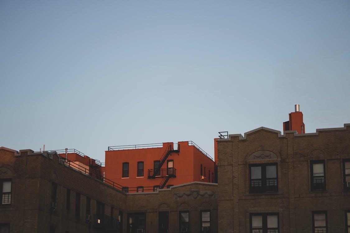 arkitektur, blå himmel, bygninger