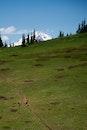 landscape, person, hill