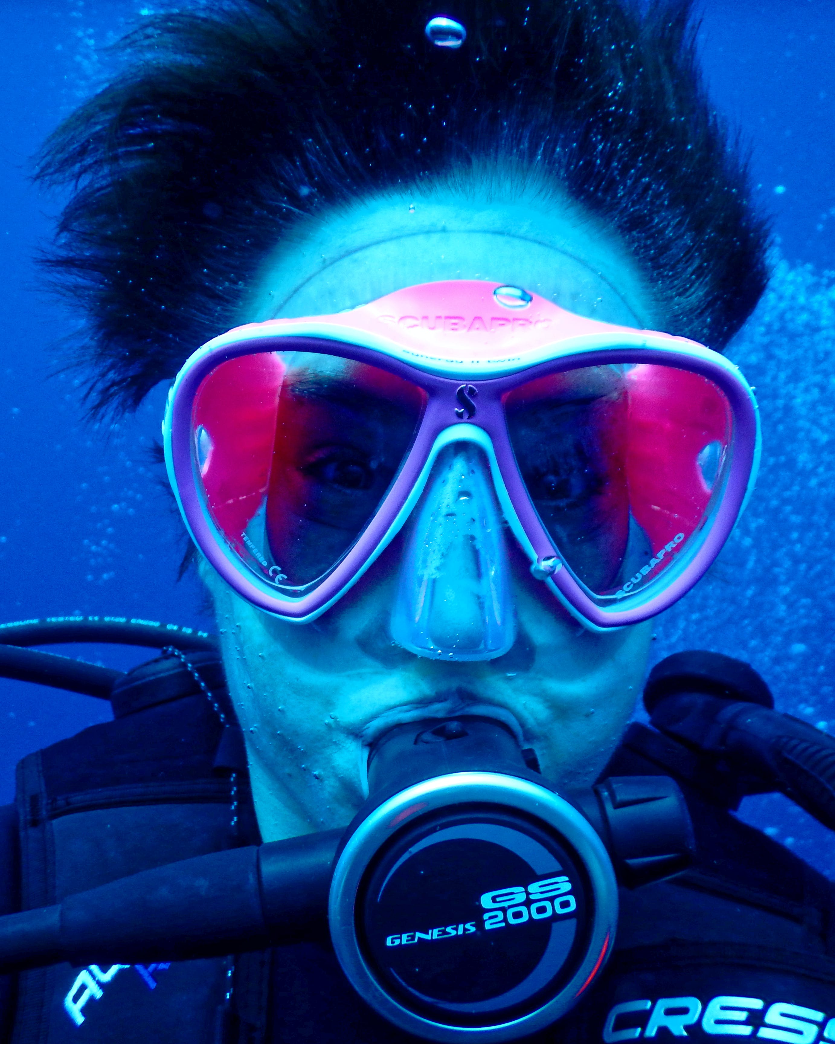 Person Wearing Goggles Underwater