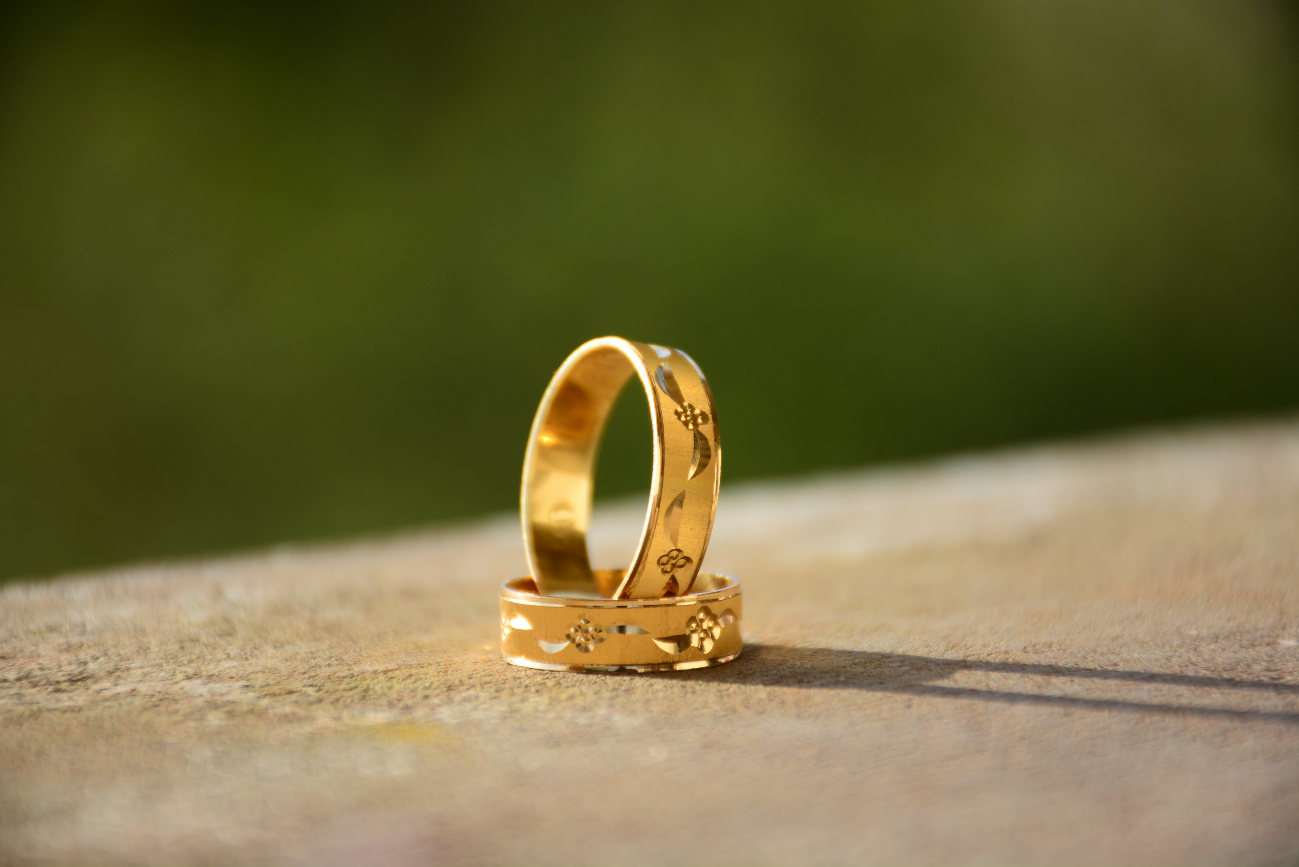 Close-Up Photo of Golden Rings