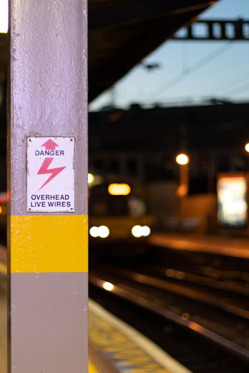 Free stock photo of danger, sign, train, train station