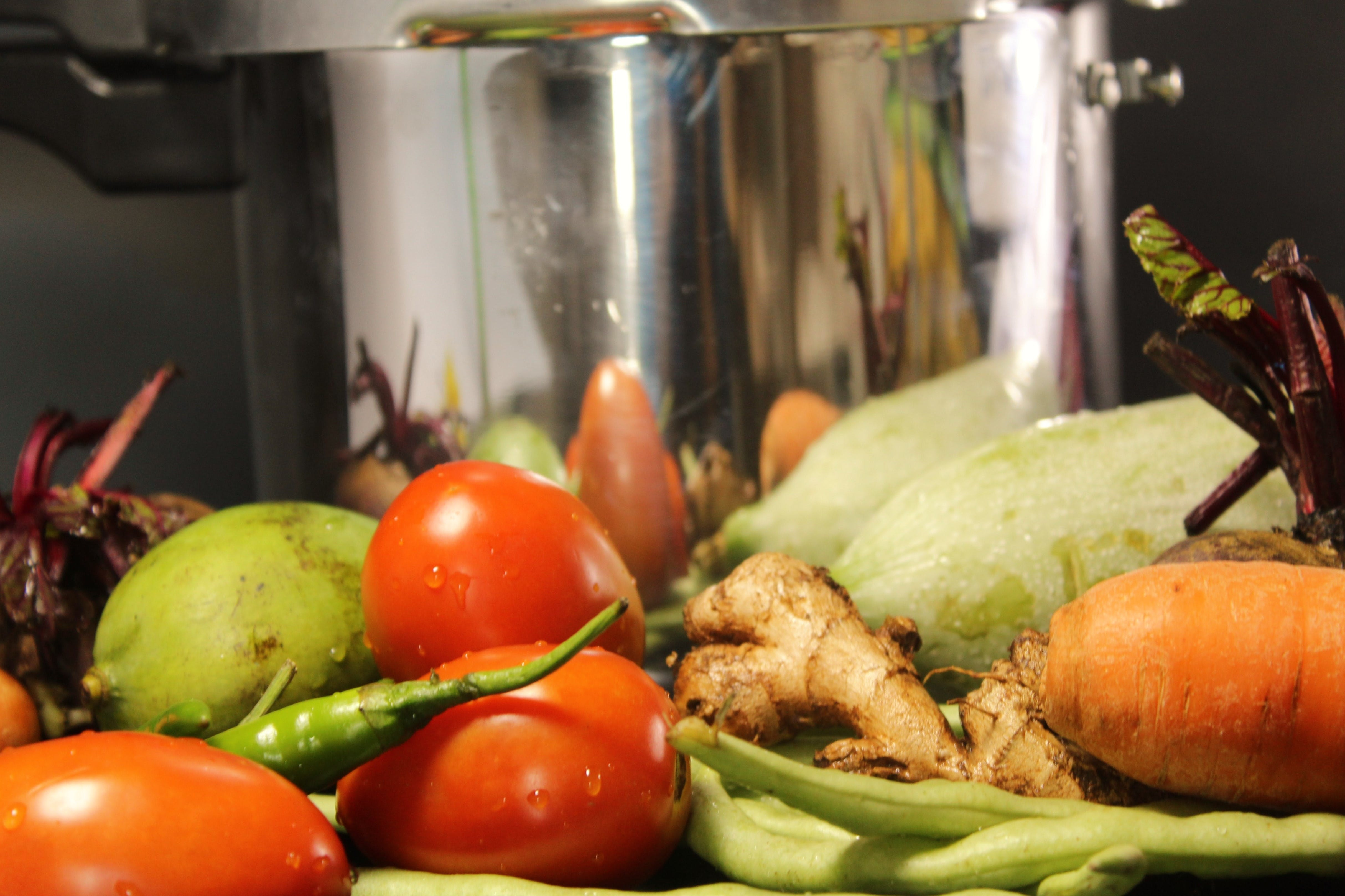 Free stock photo of carrots, chilli, cooker, fresh vegetables