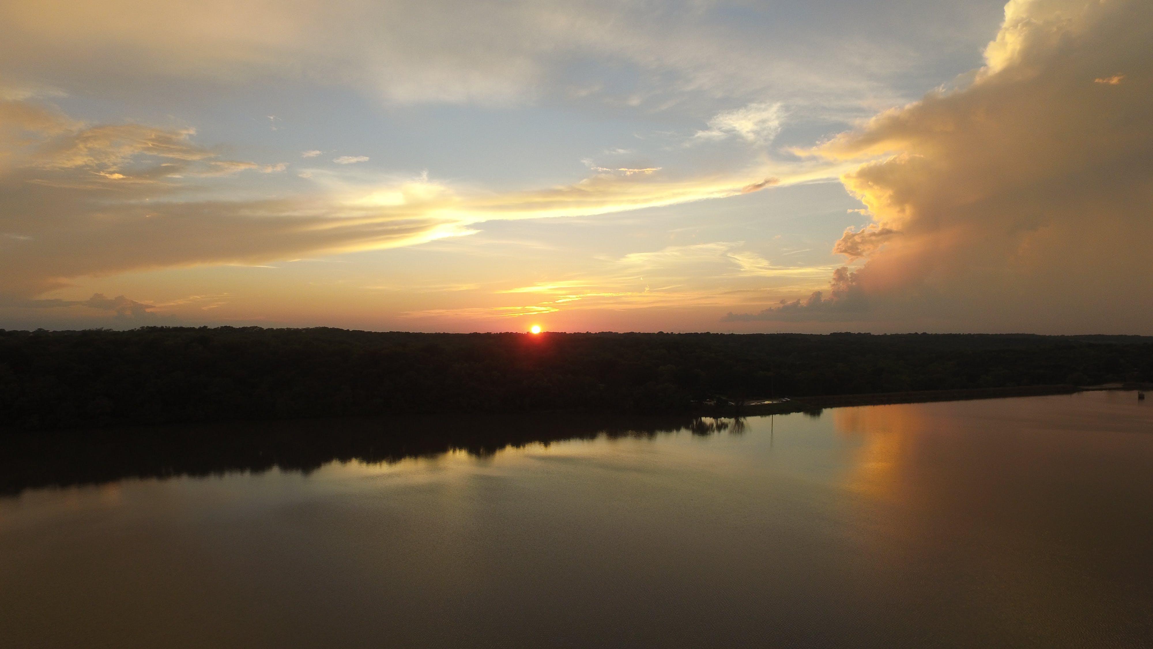 himmel, landskab, morgengry
