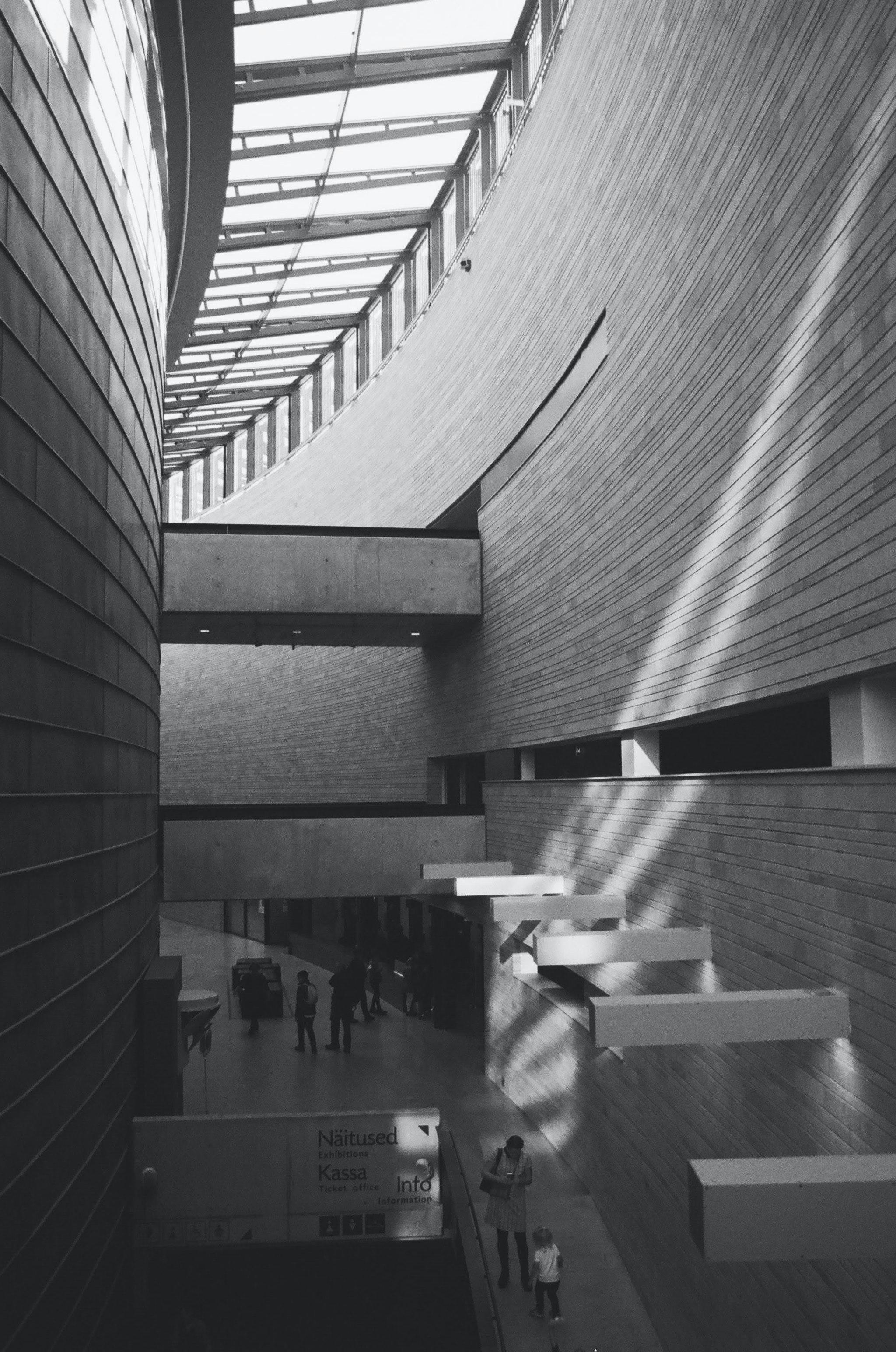 Greyscale Photo Of Building Interior Free Stock Photo