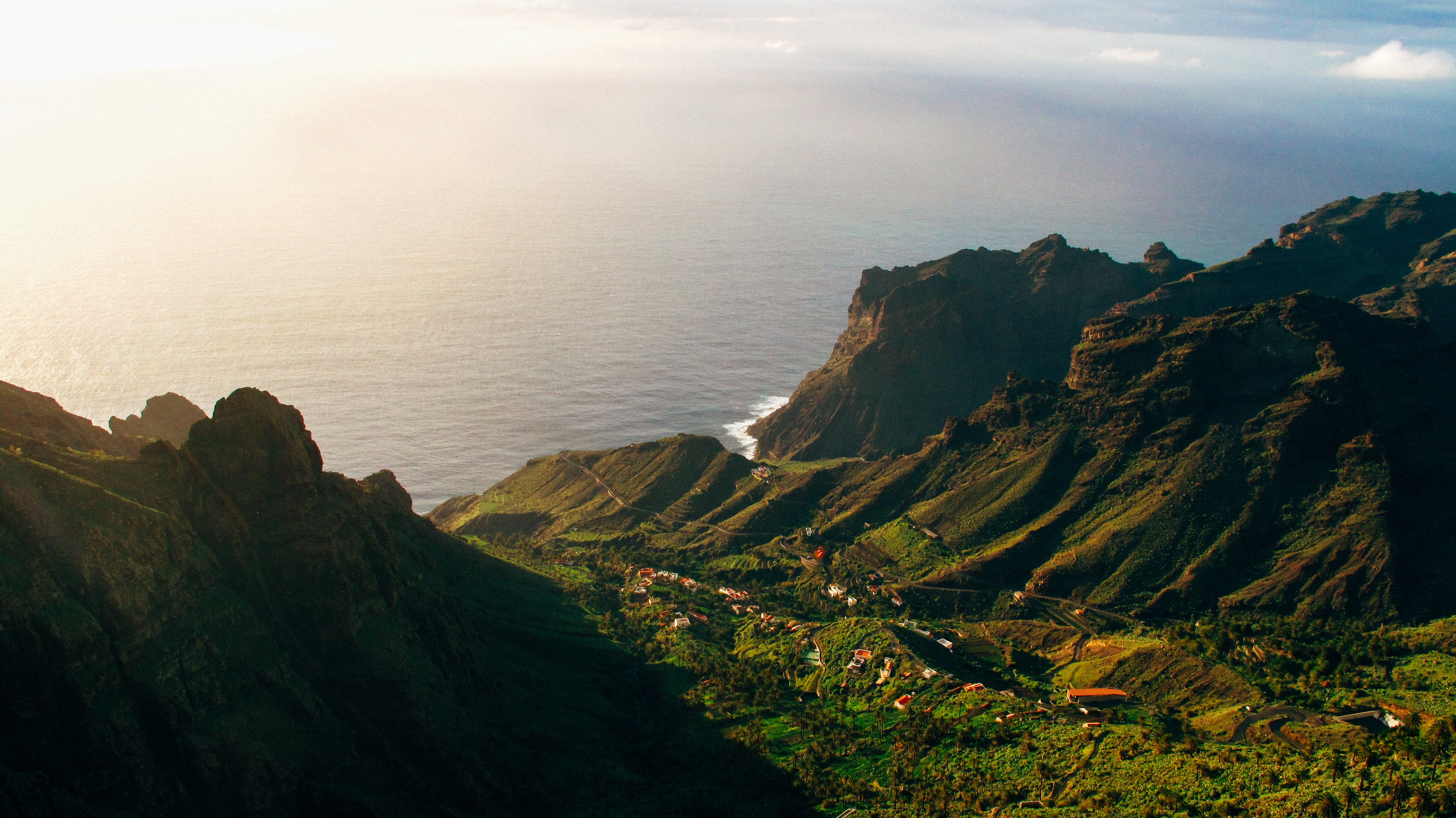 Aerial Photography of Mountain and Ocean View