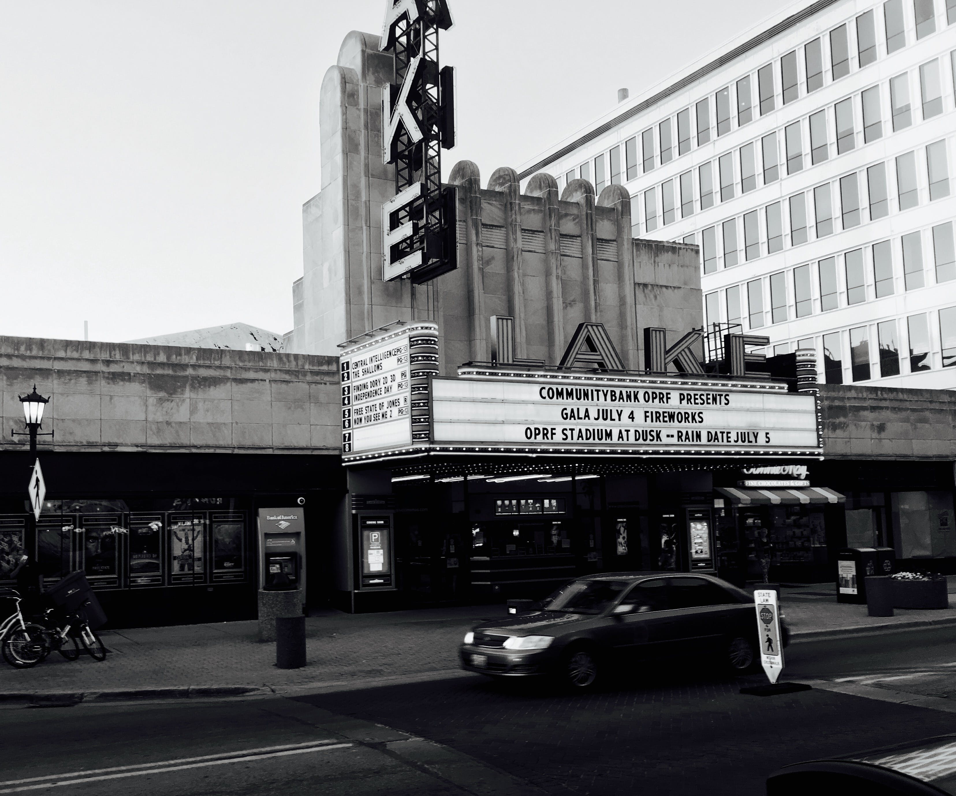 Free stock photo of black and white, car, cinema, old city