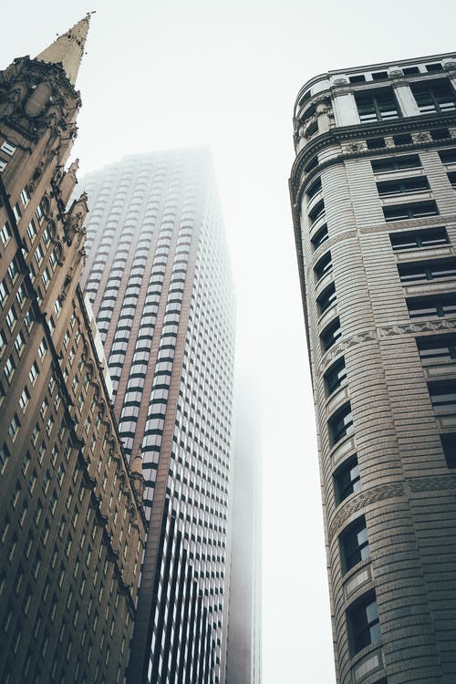 arhitectură, ceață, centrul orașului