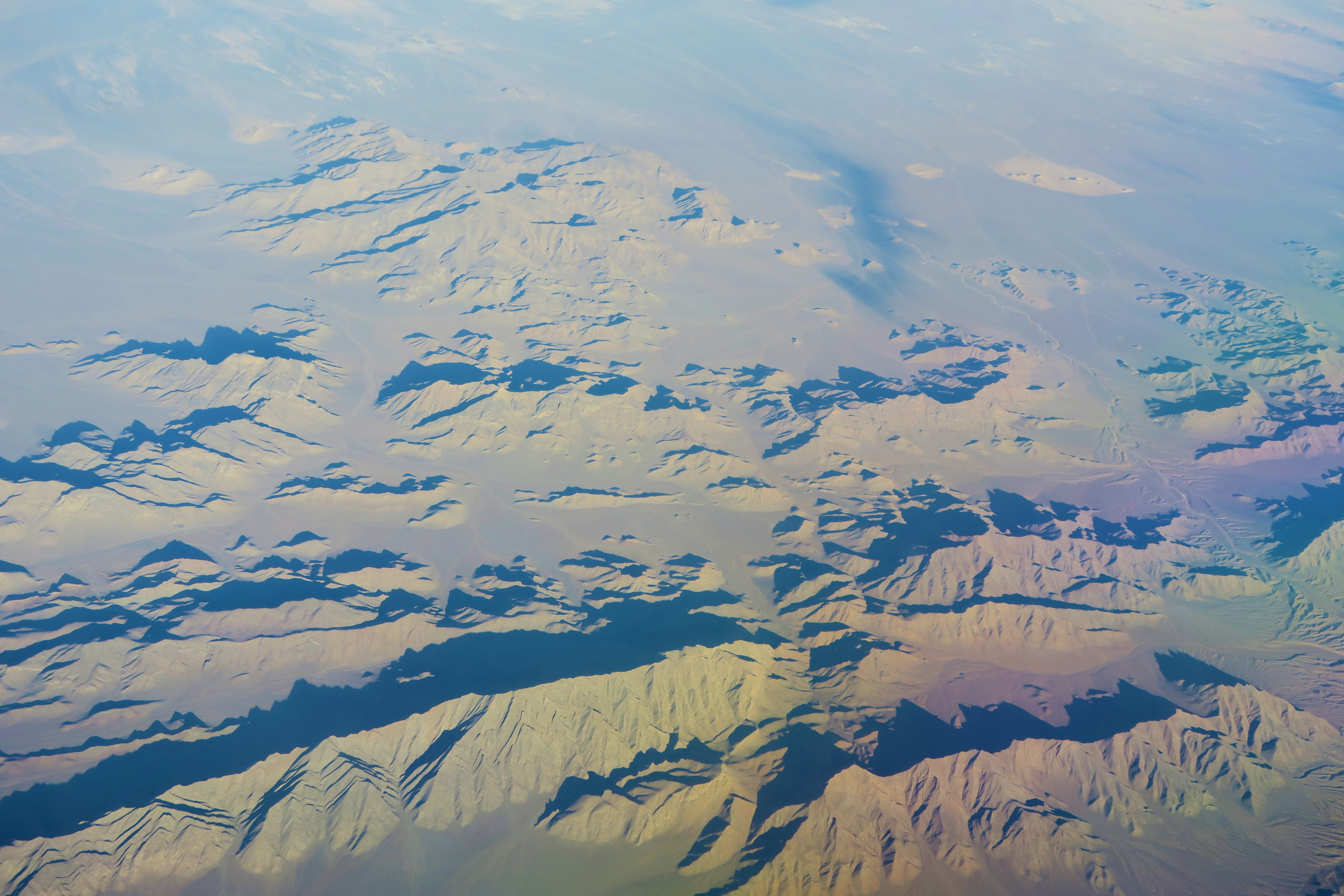 Bird's Eye View Of Snow Capped Moountains