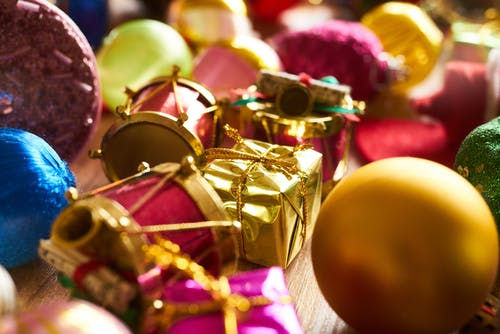 Gold Gift Box Beside Bauble